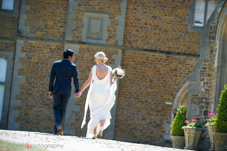 bride_walking_fawsley_hall