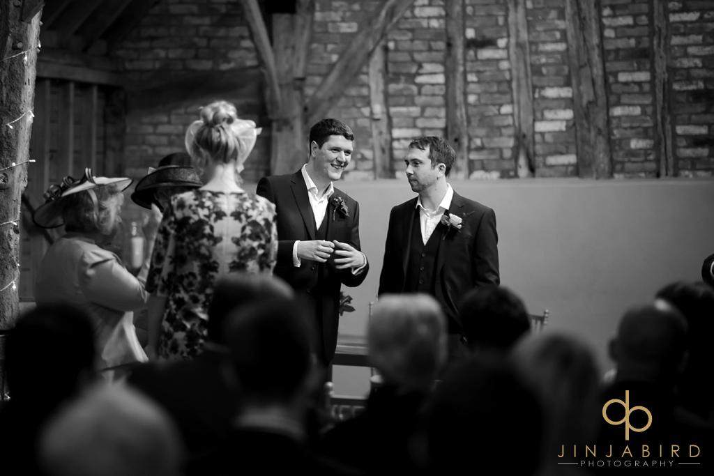 groom-waiting-for-bride-bassmead-manor-barns