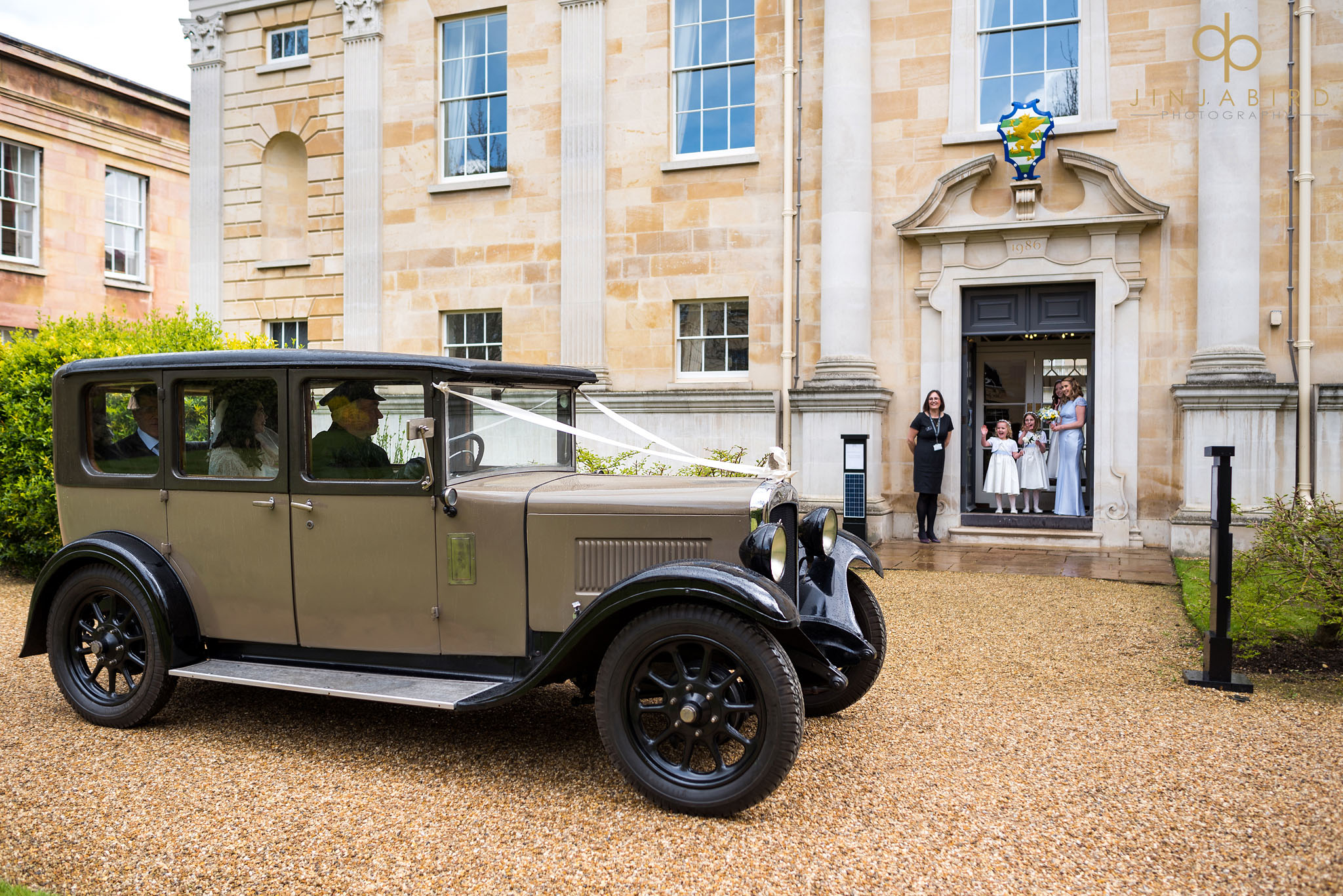 bride arriving downing college