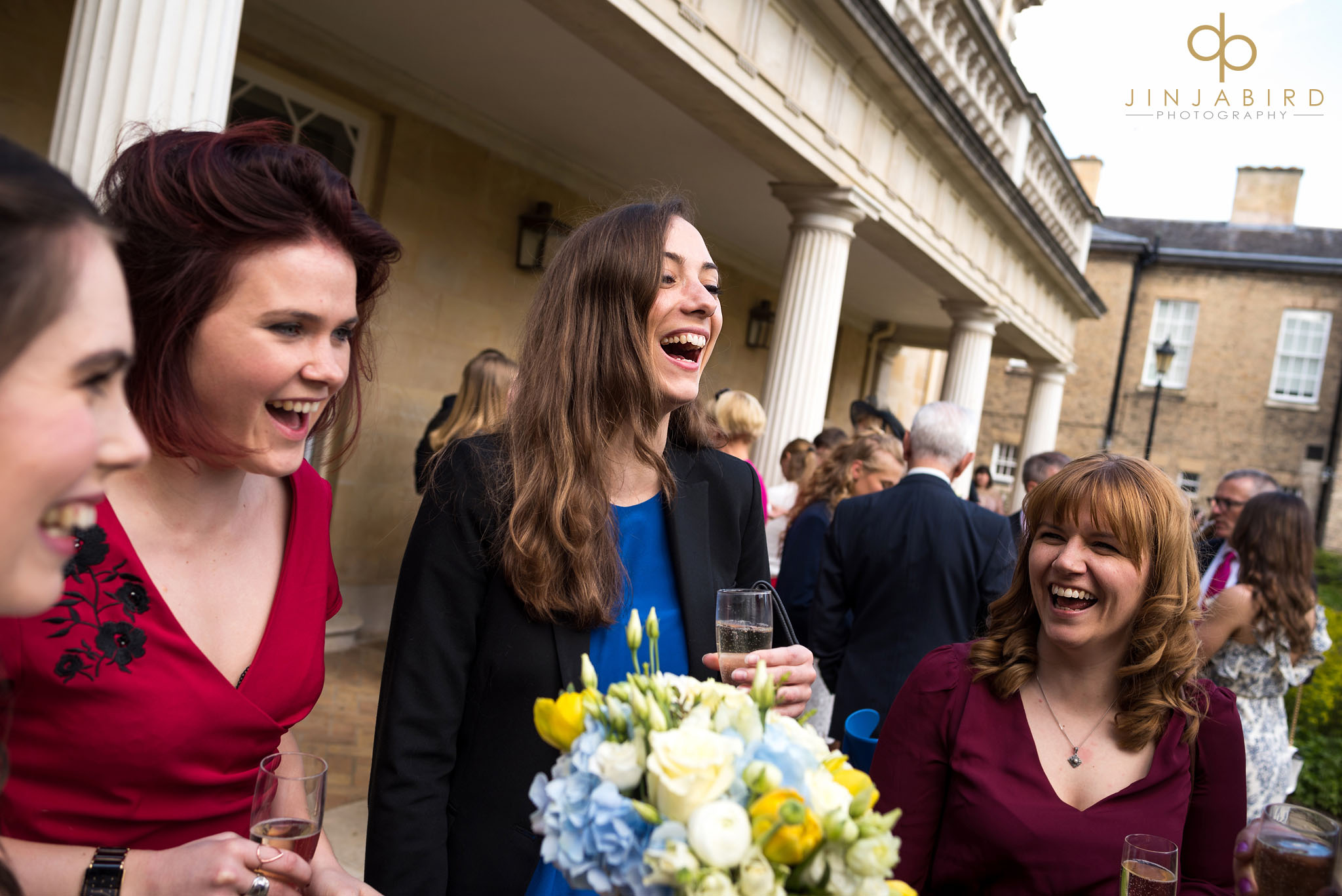 downing college guests with bride
