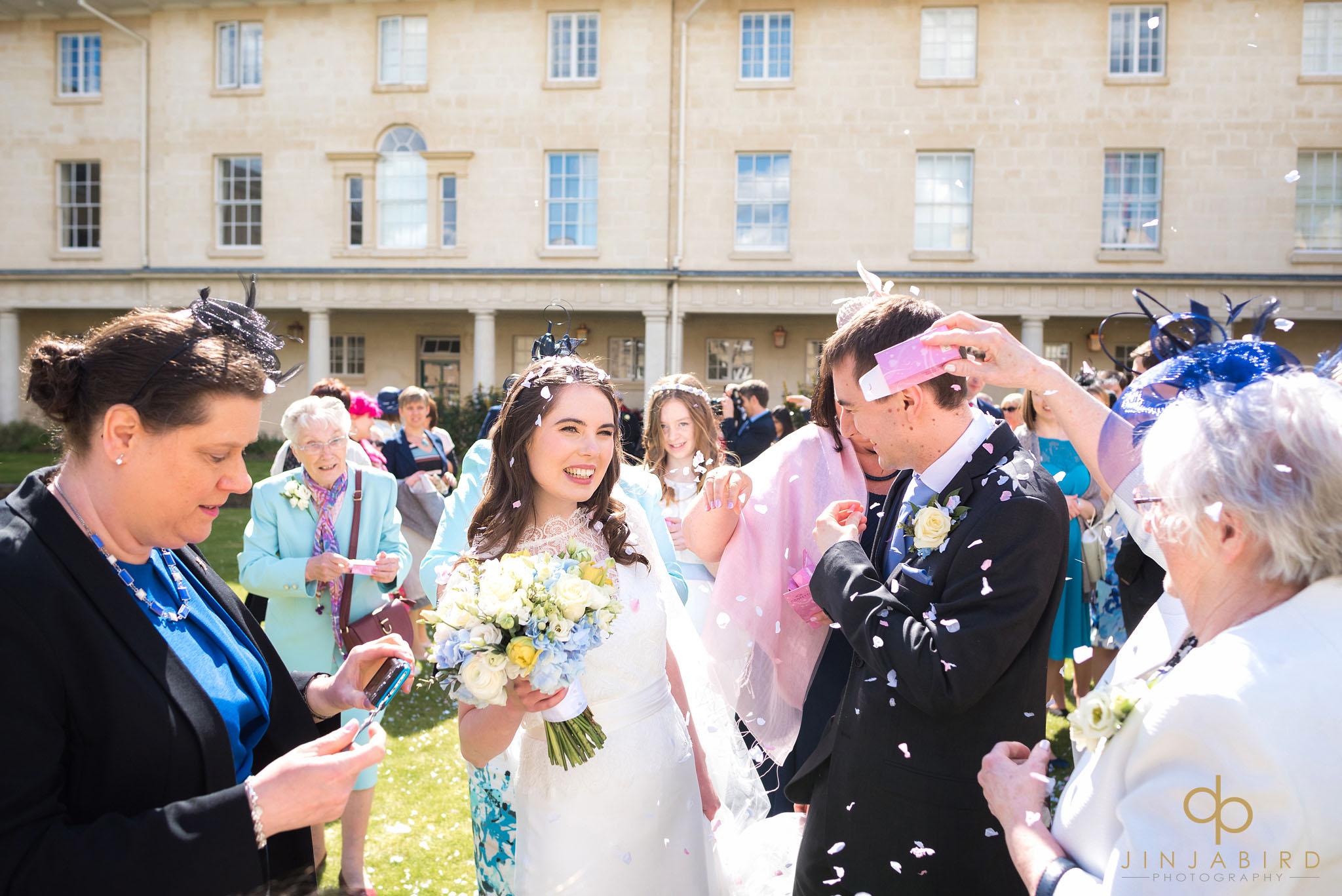 wedding confetti downing college cambridge