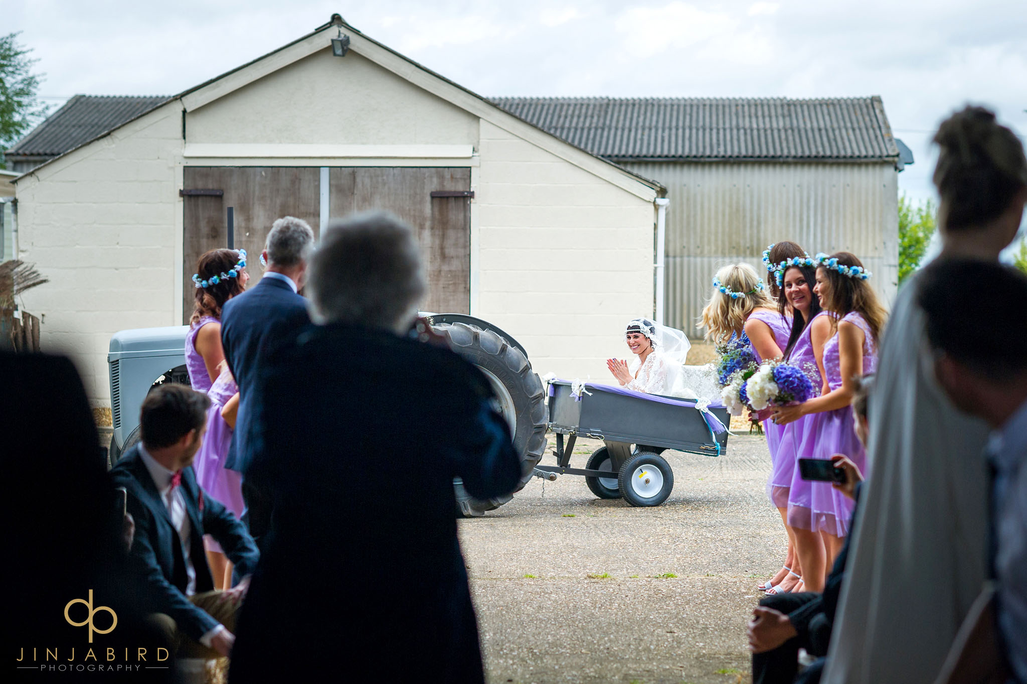 bride arriving on tractor