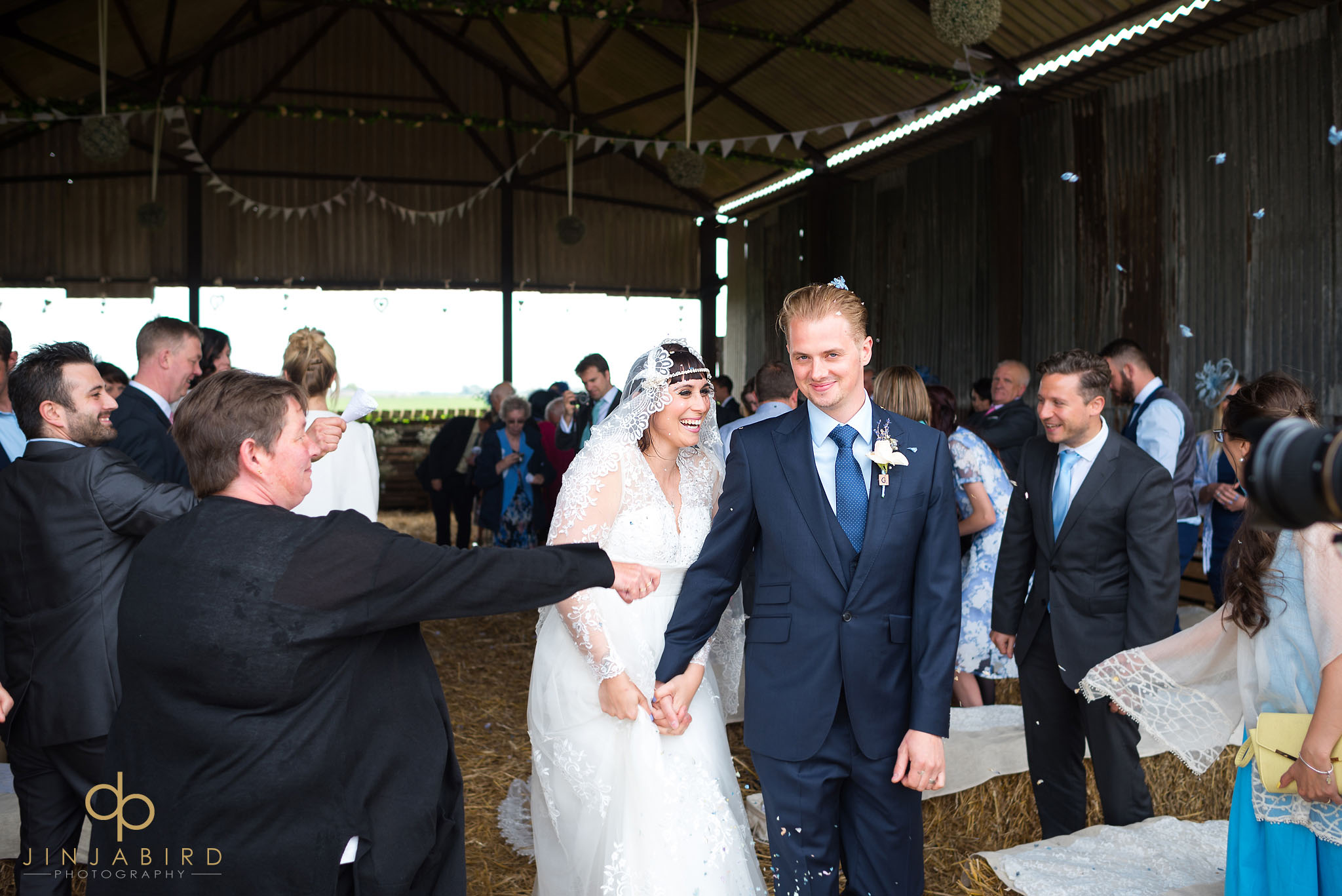 bride groom married in barn