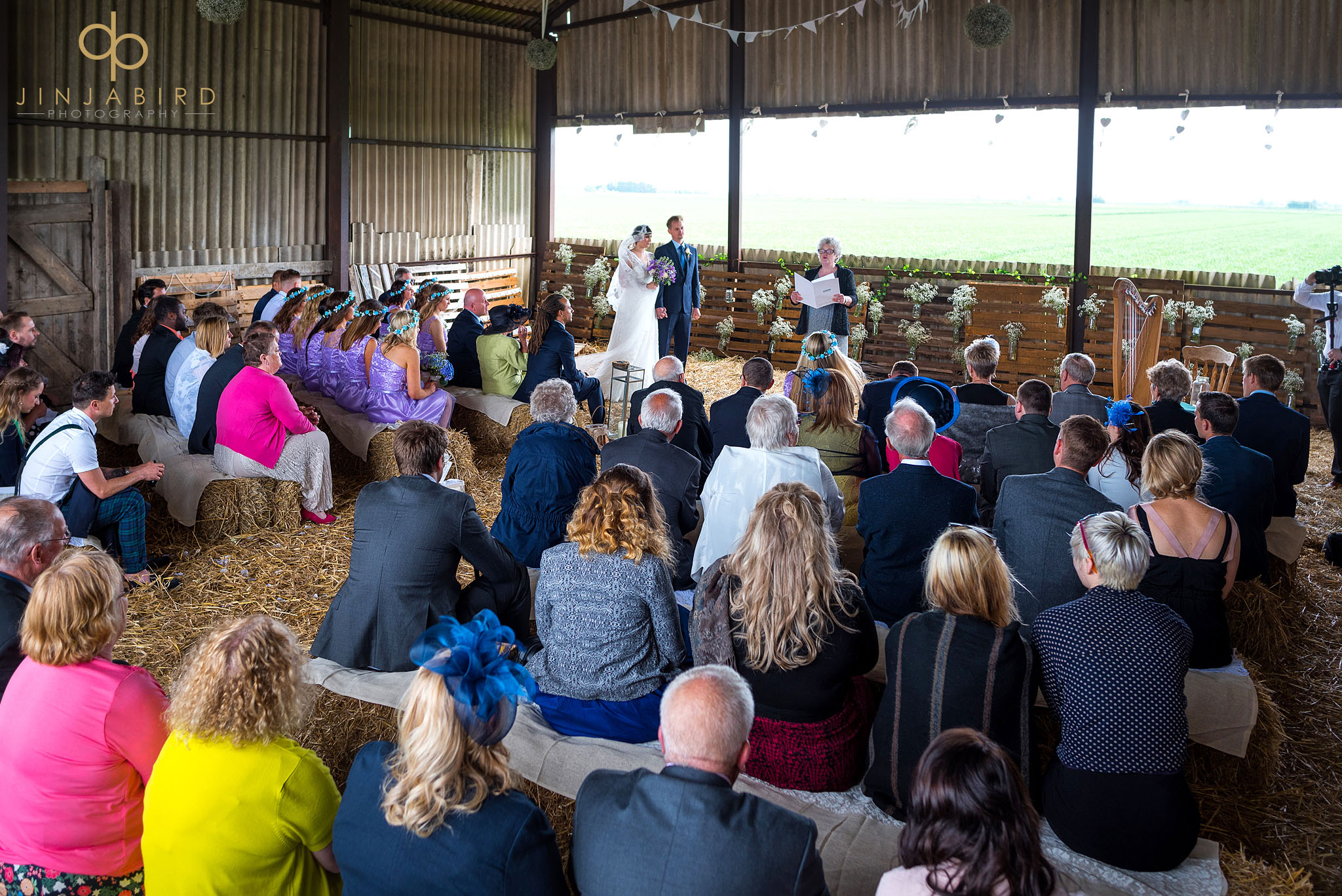 wedding ceremony in haybarn