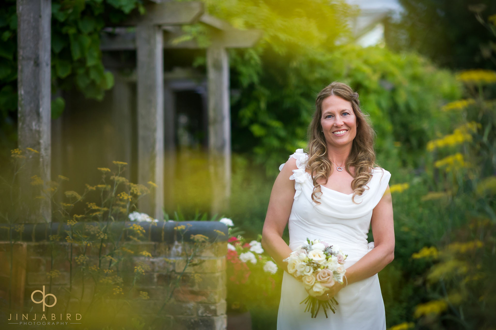 bride in garden south farm