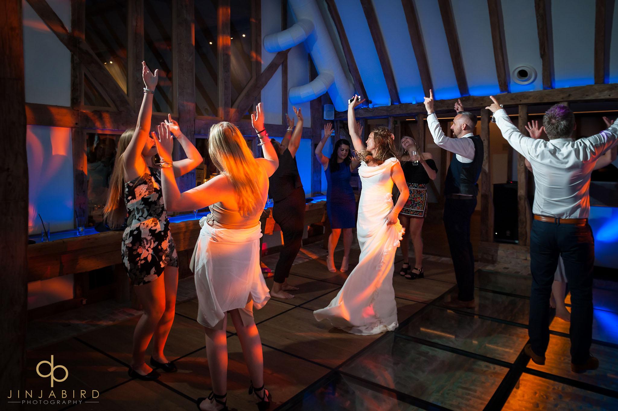 wedding guests dancing south farm