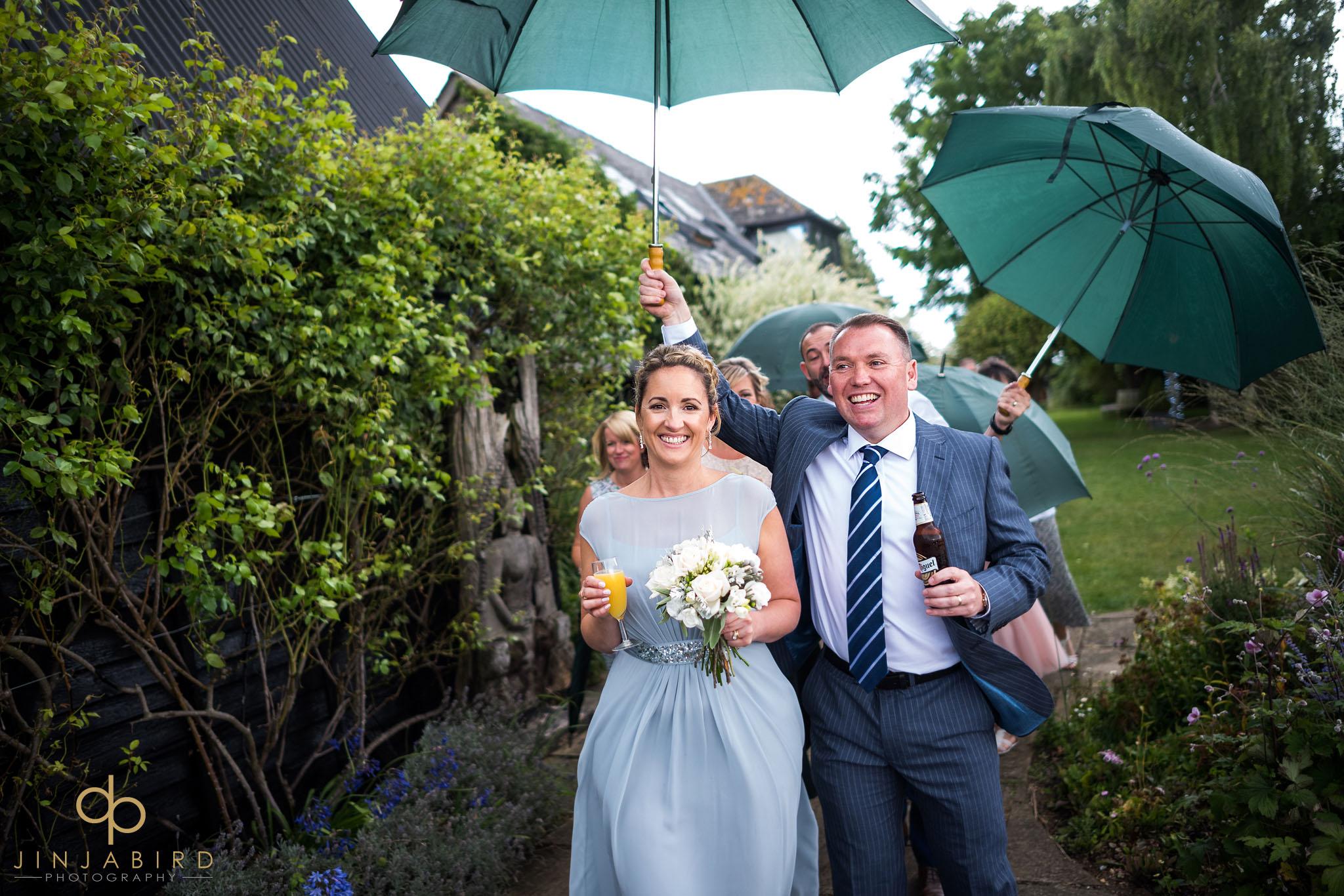 wedding in rain south farm