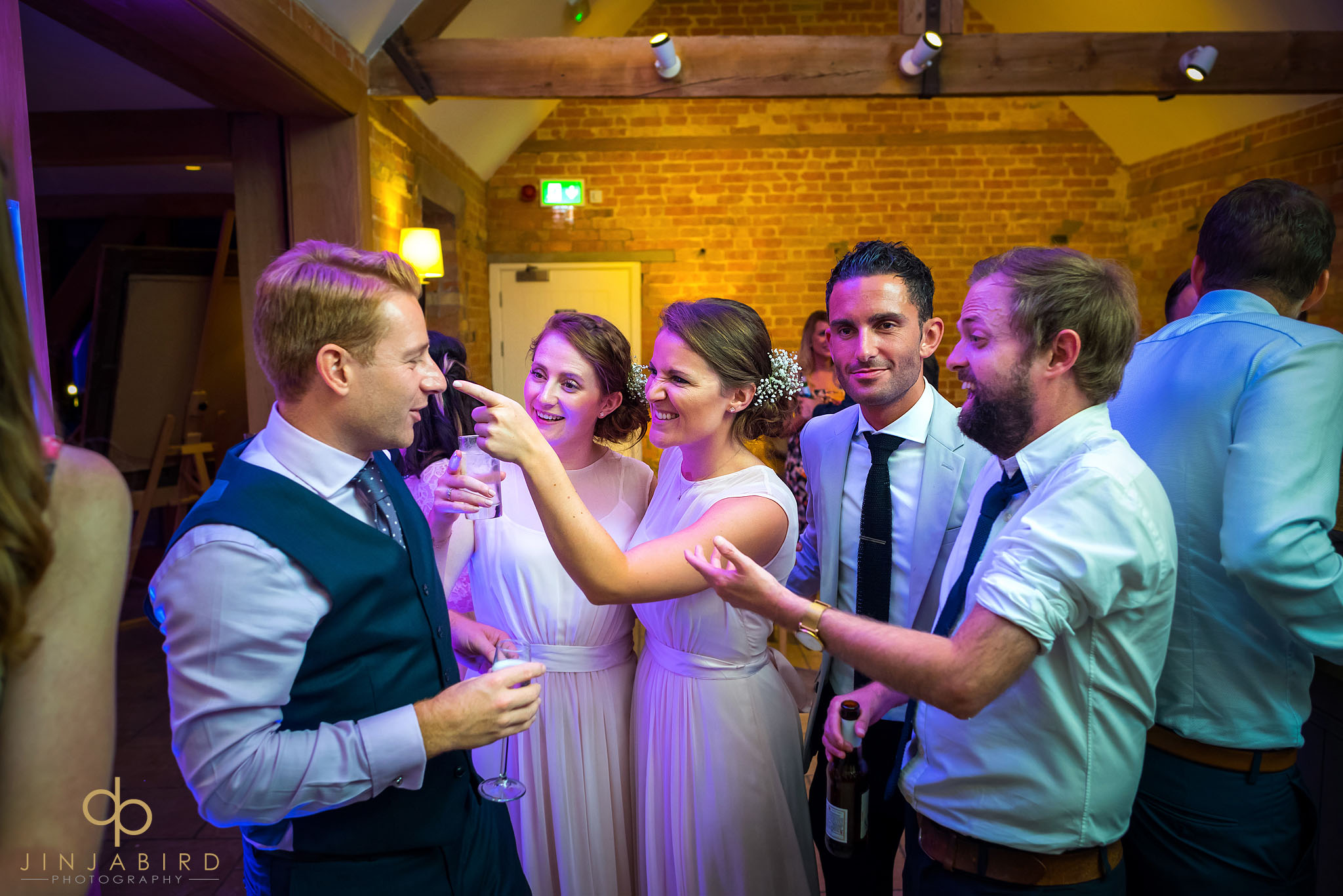 wedding guests in bar bassmead manor