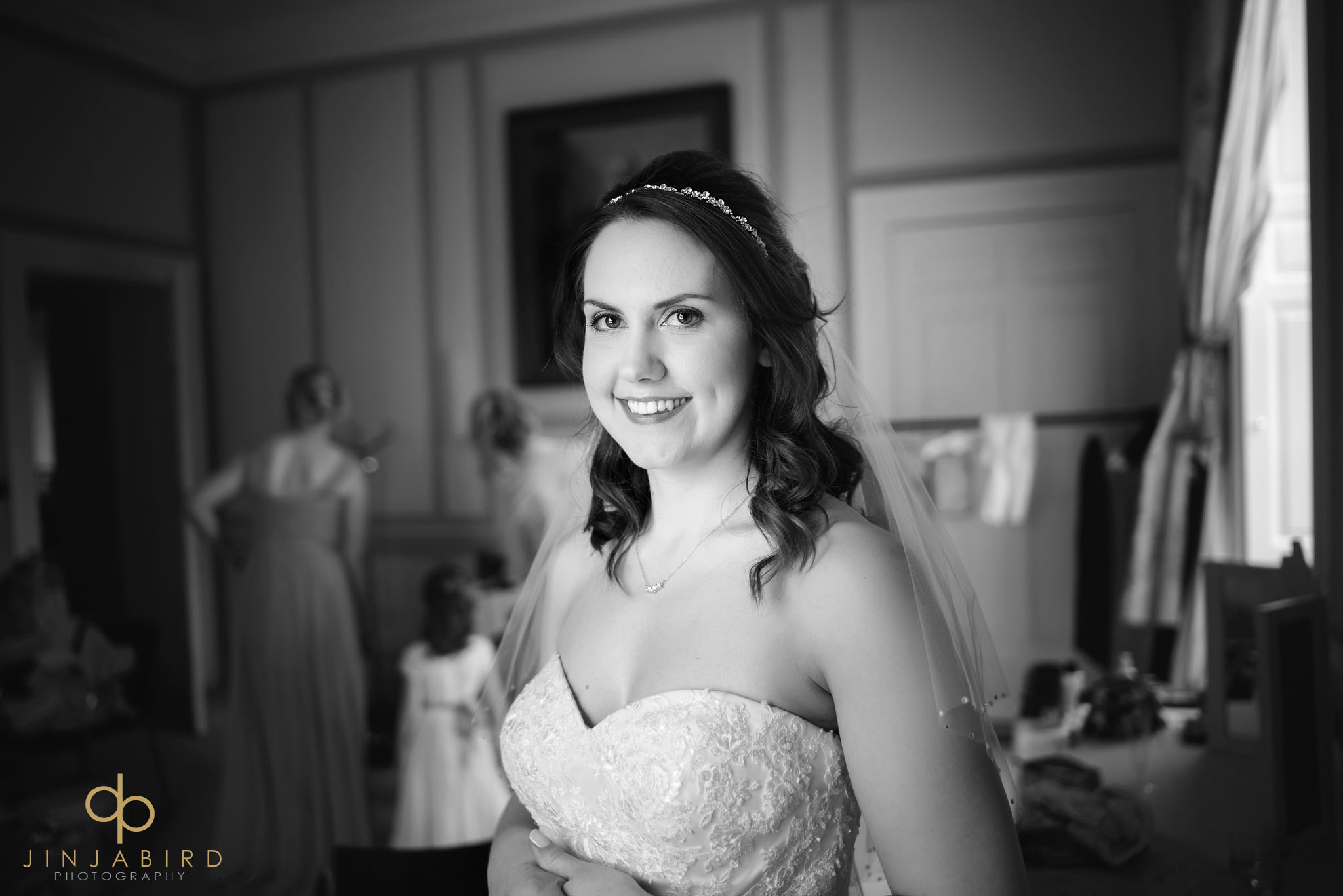 bride before ceremony chicheley hall
