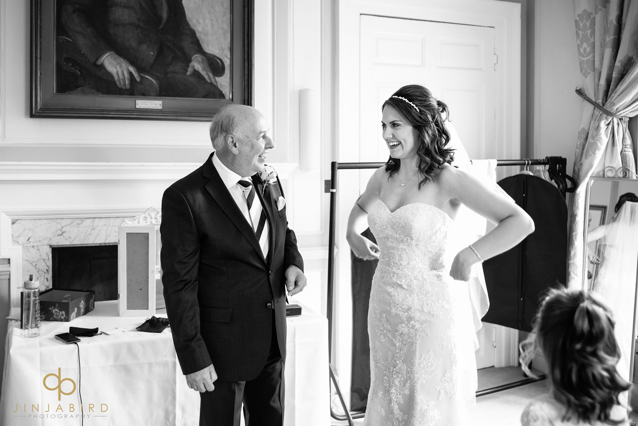bride with father chicheley hall