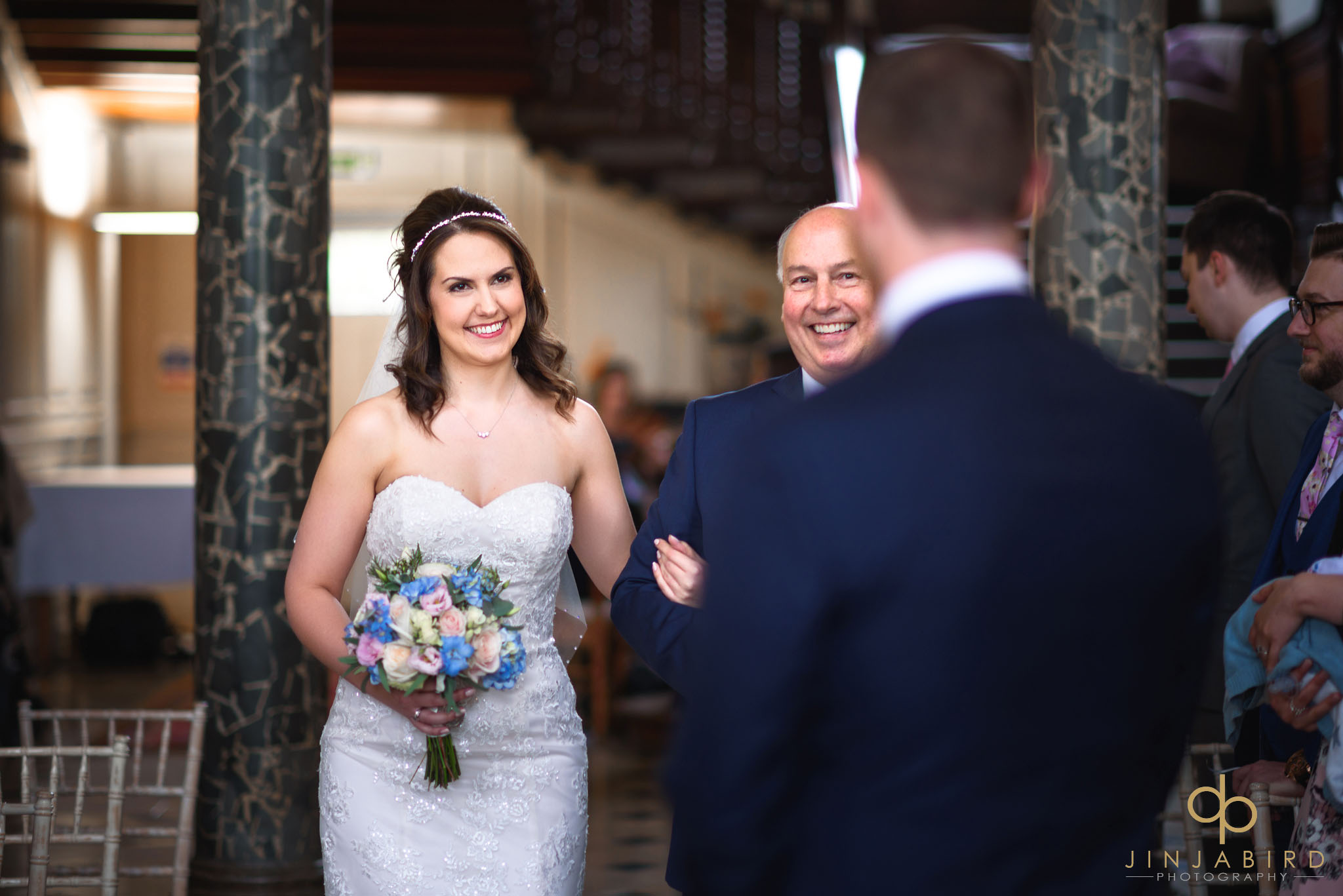 bride coming down aisle with father chicheley hall