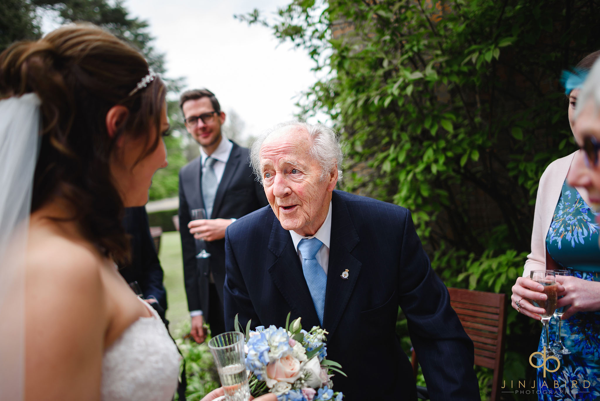 grandfather talking to bride chicheley hall