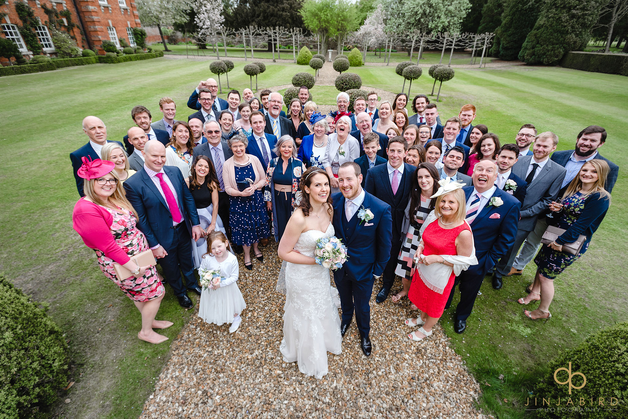 group photo of wedding guests chicheley hall