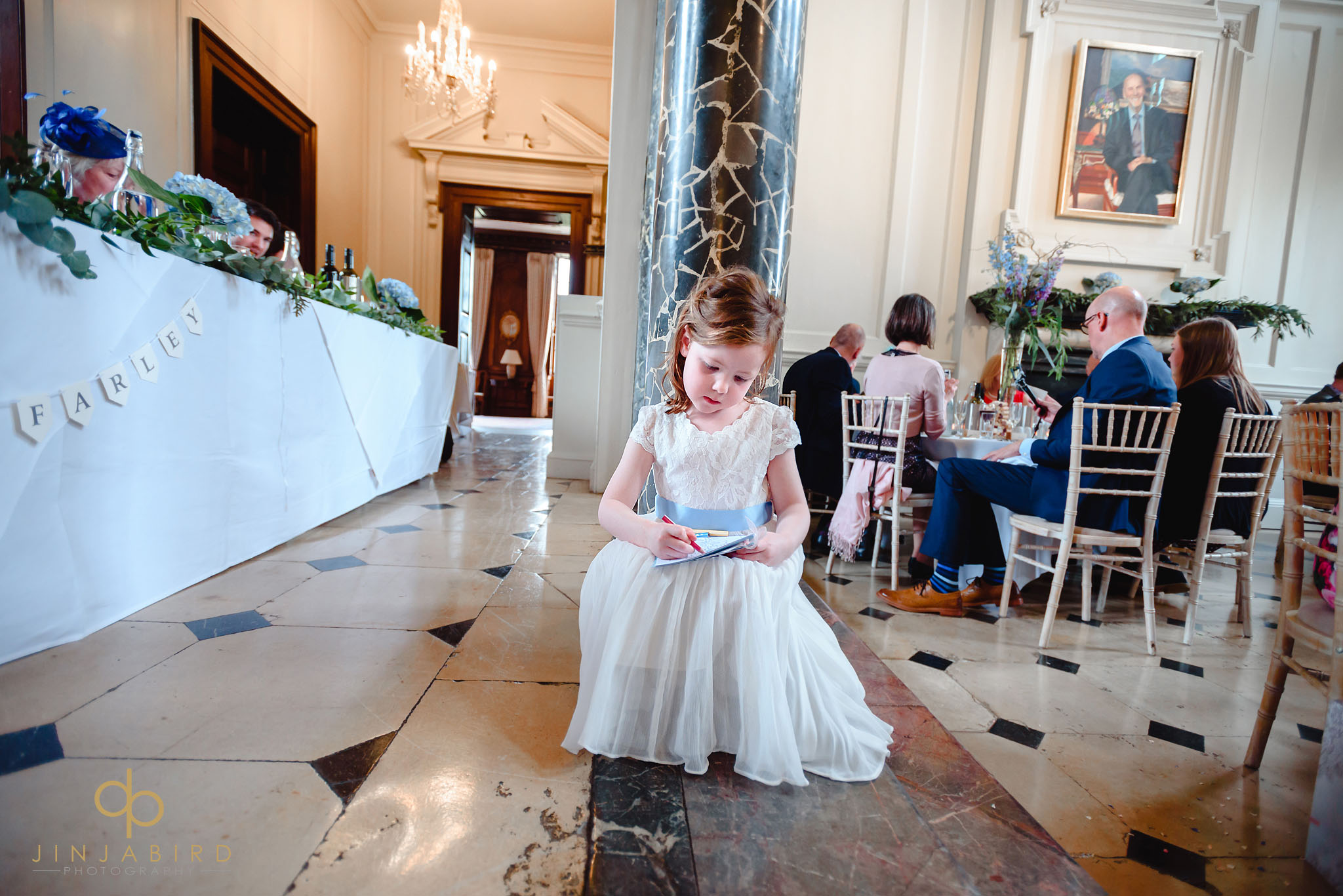flower girl during wedding breakfast chicheley hall