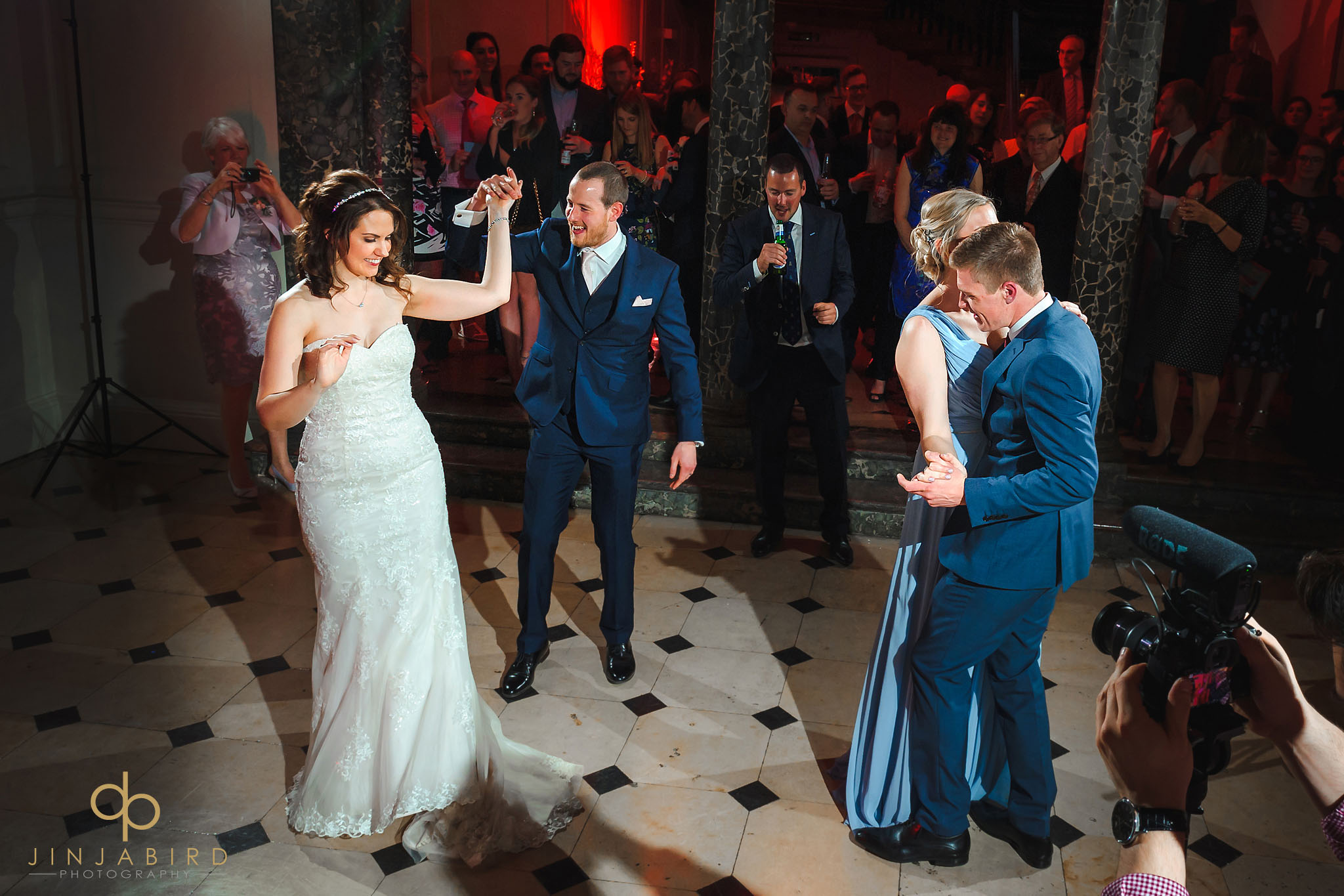 bride and groom dancing chicheley hall