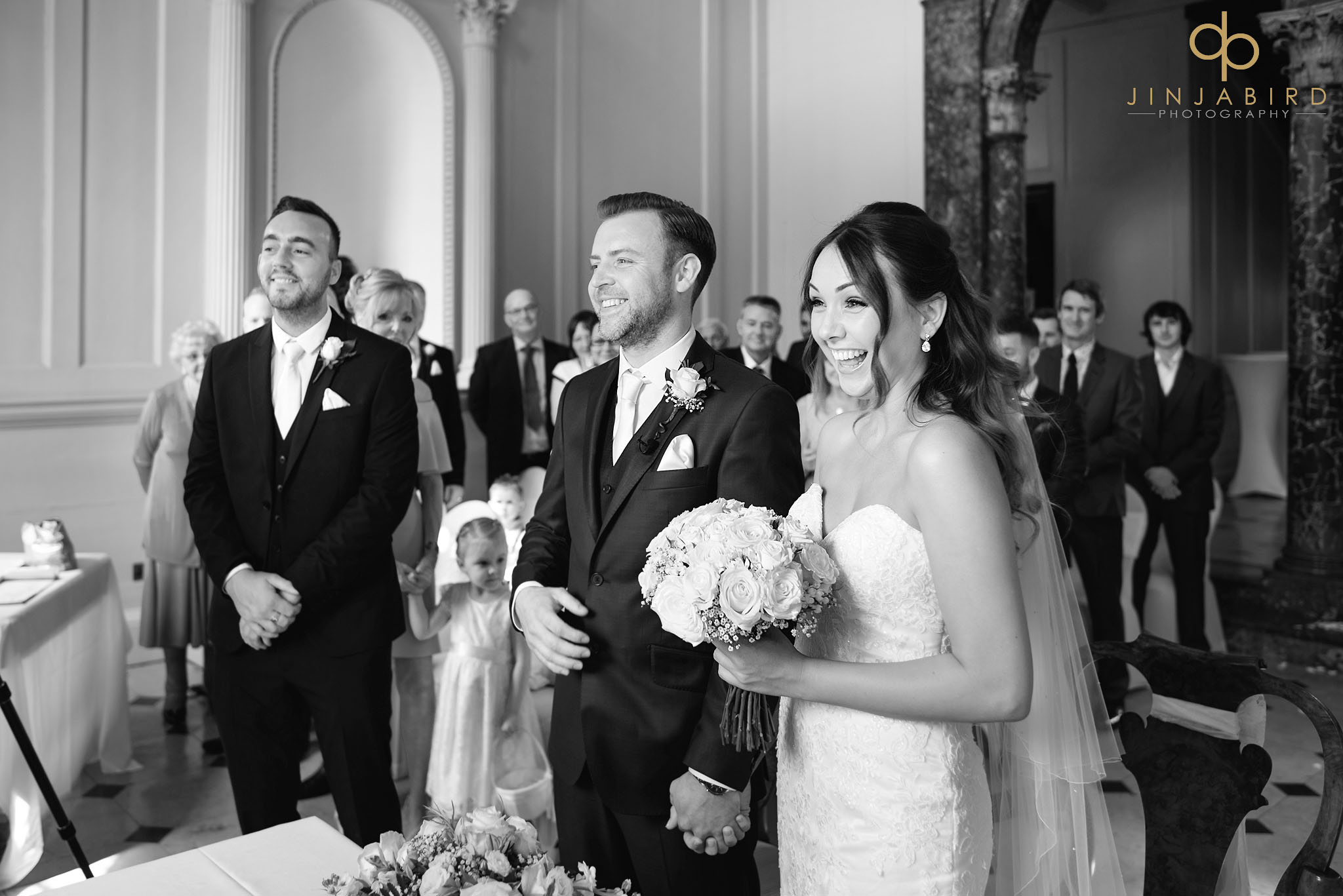 bride and groom wedding ceremony chicheley hall