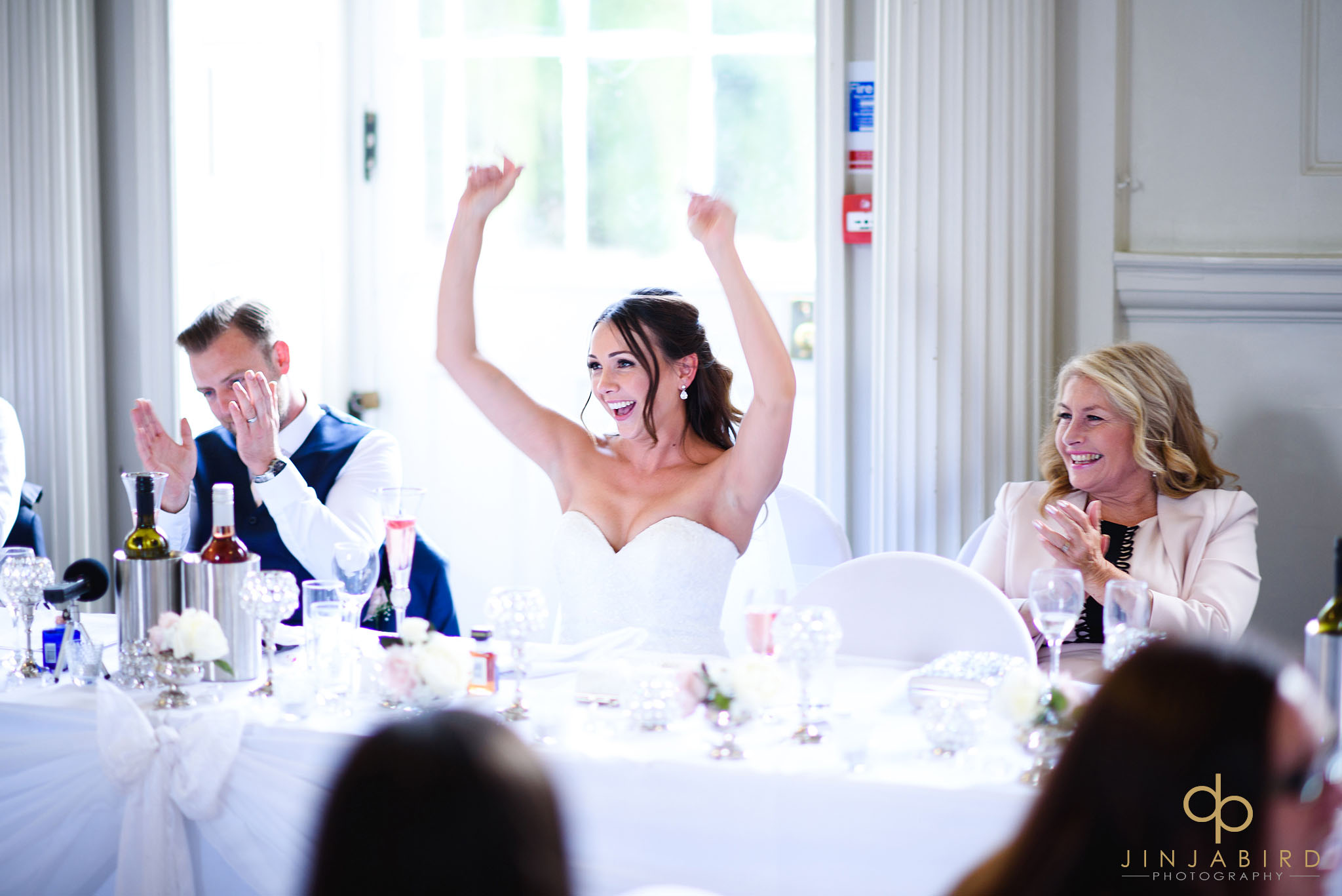 bride cheering chicheley hall