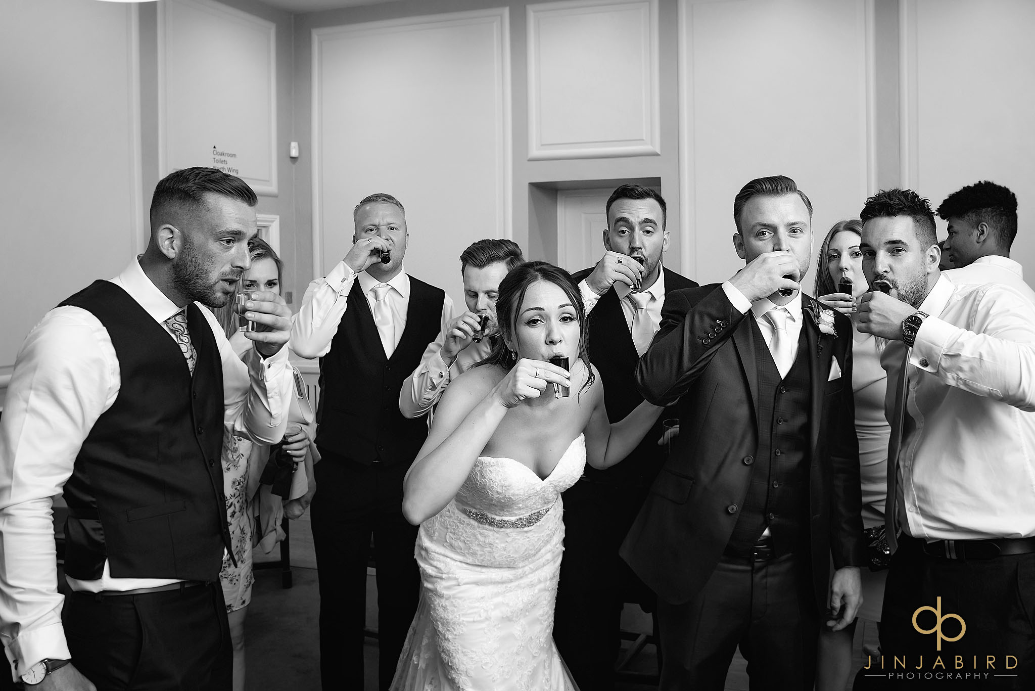 bride drinking shots chicheley hall