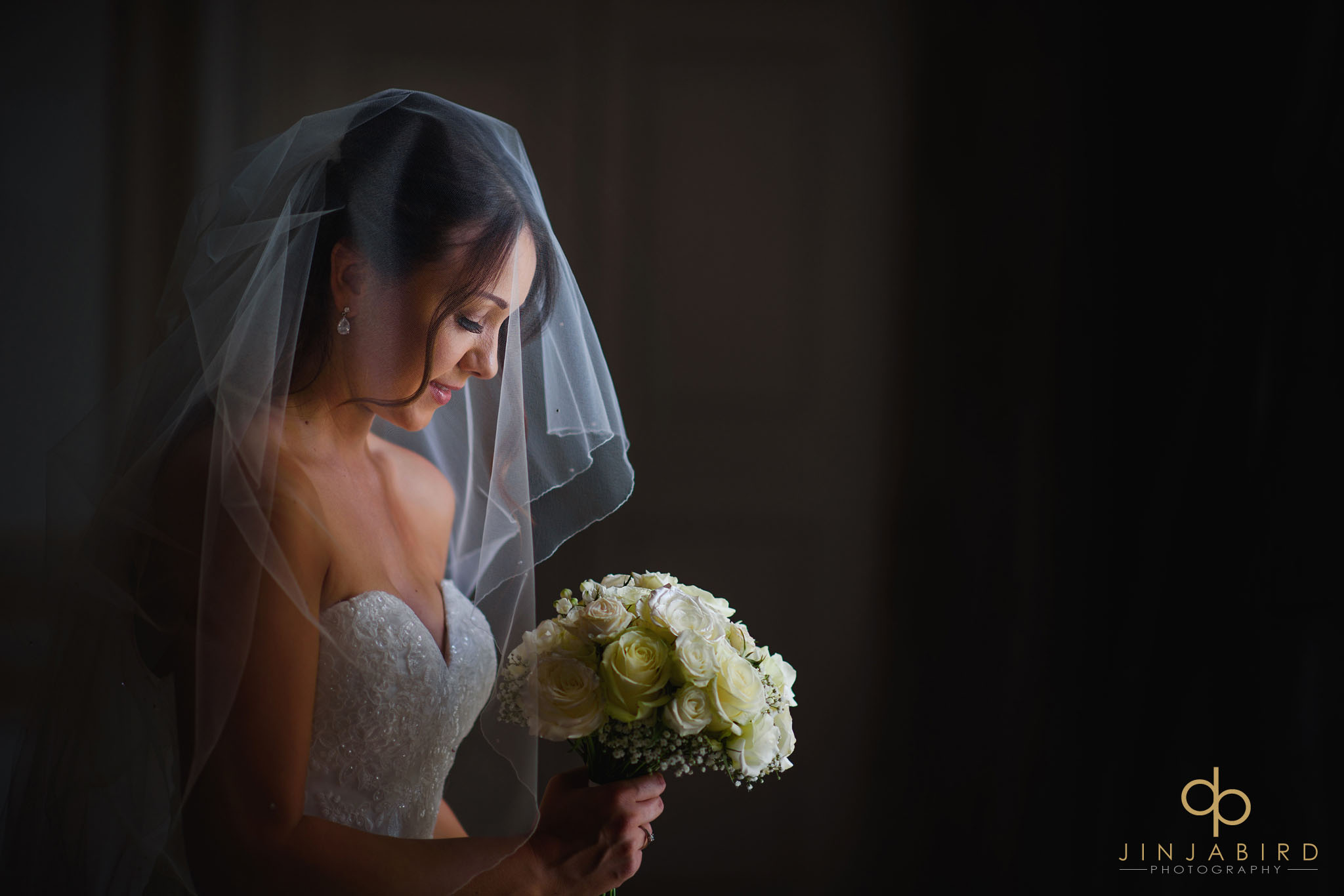 bride holding bouquet chicheley hall