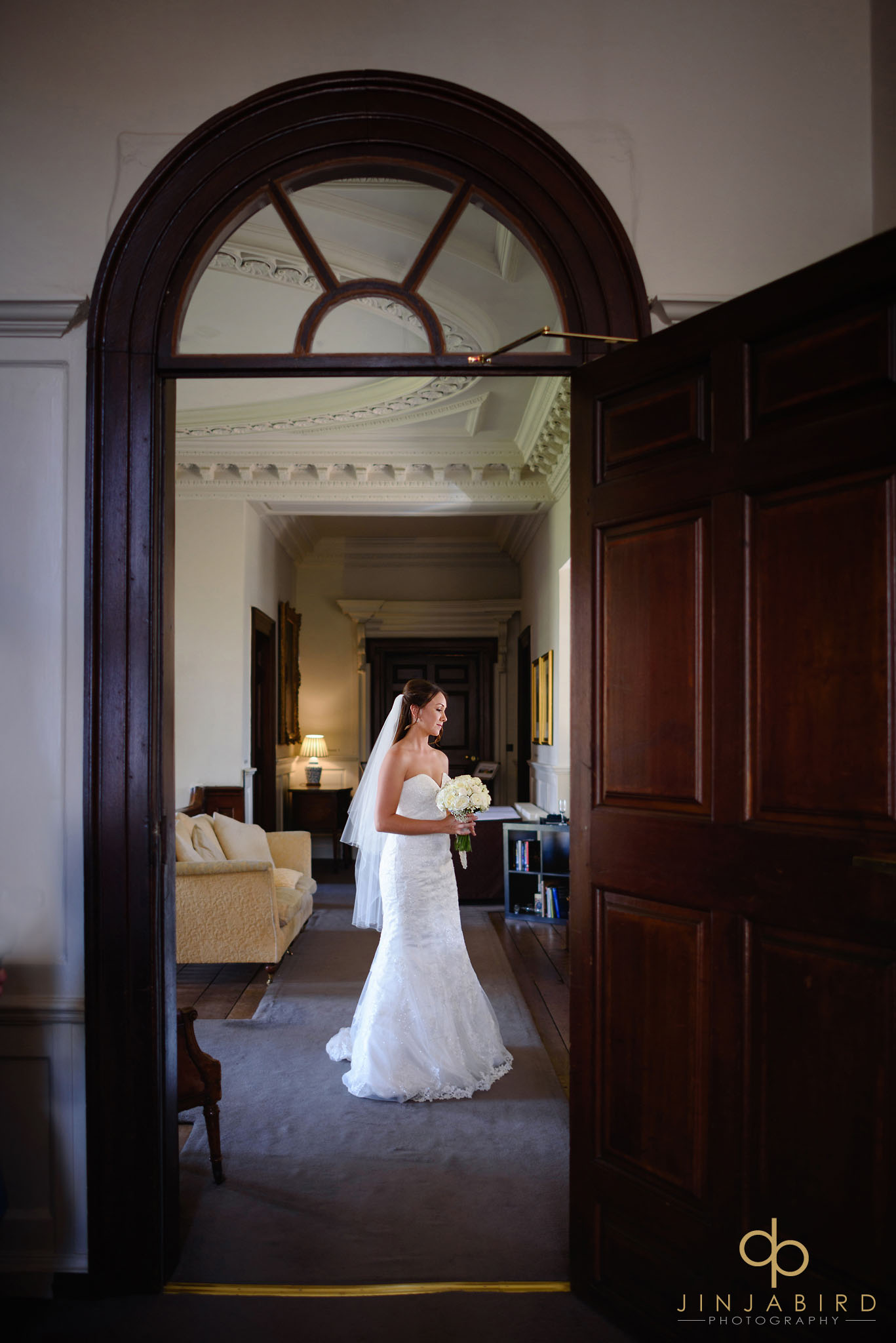 bride on stairs chicheley hall