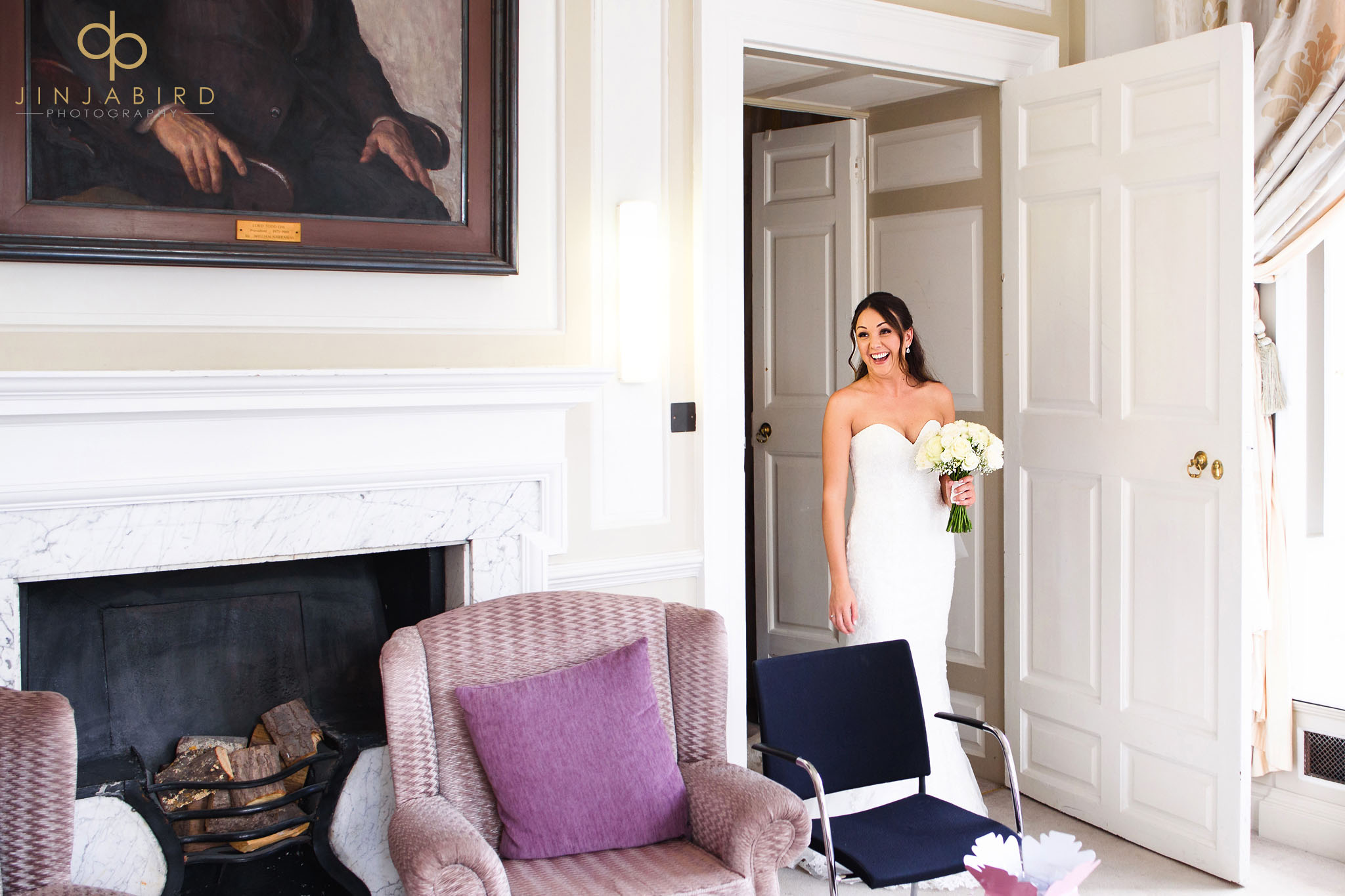 bride sees father chicheley hall