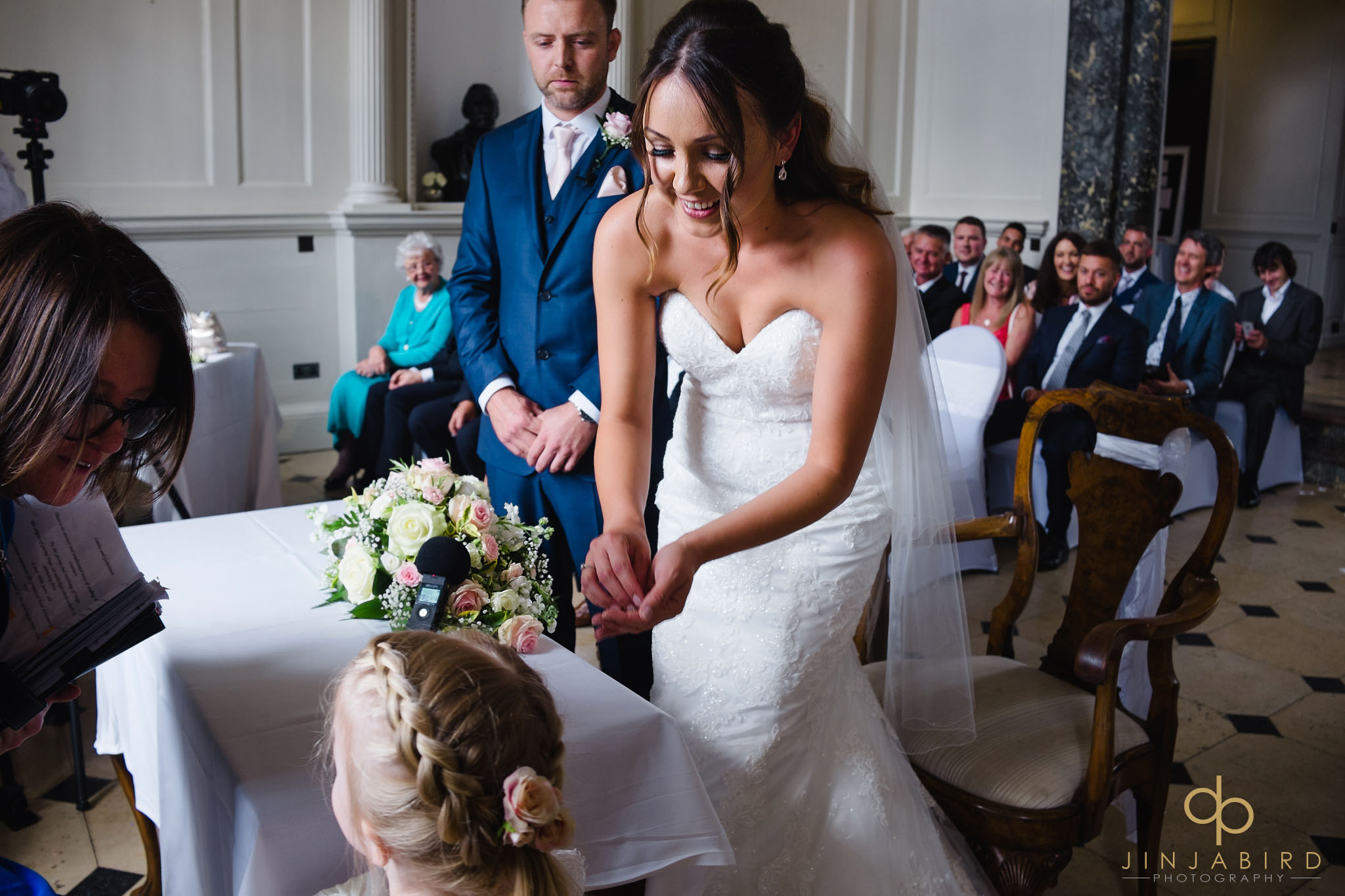 bride taking rings chicheley hall
