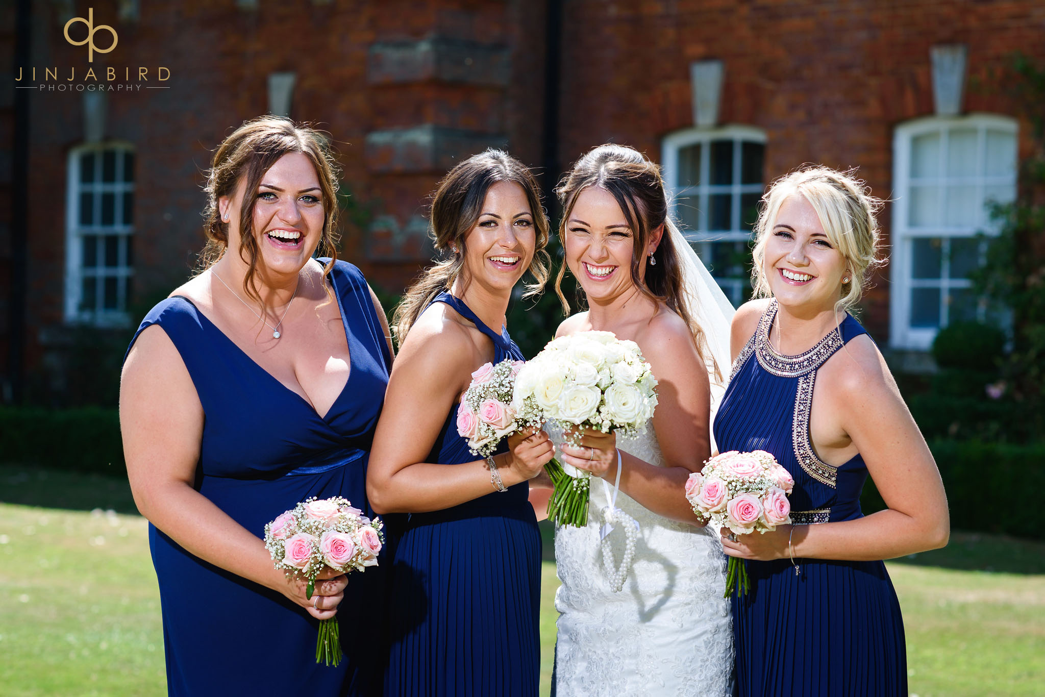 bride with bridesmaids chicheley hall