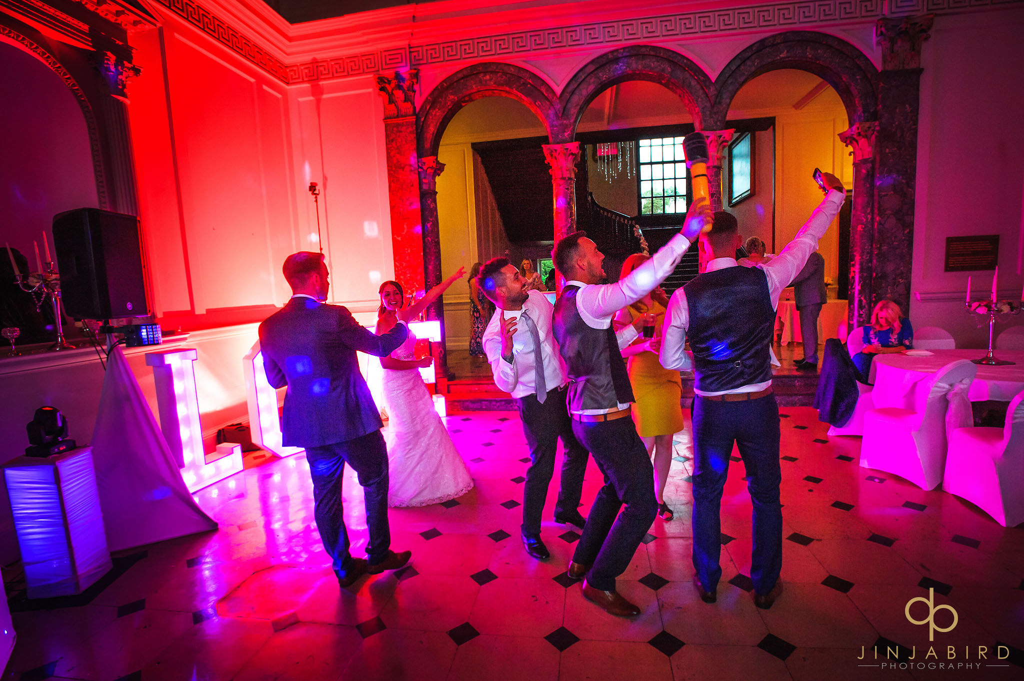 wedding guests partying chicheley hall