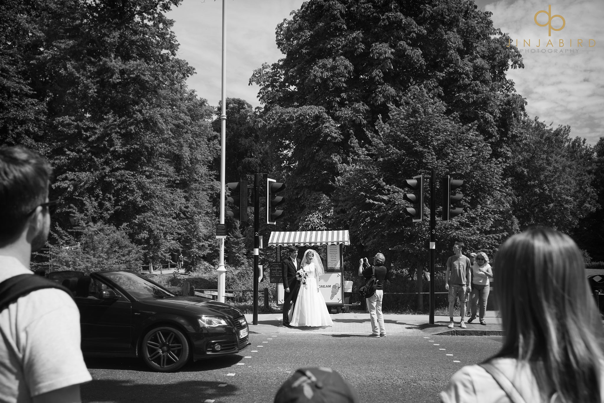 bride crossing road cambridge