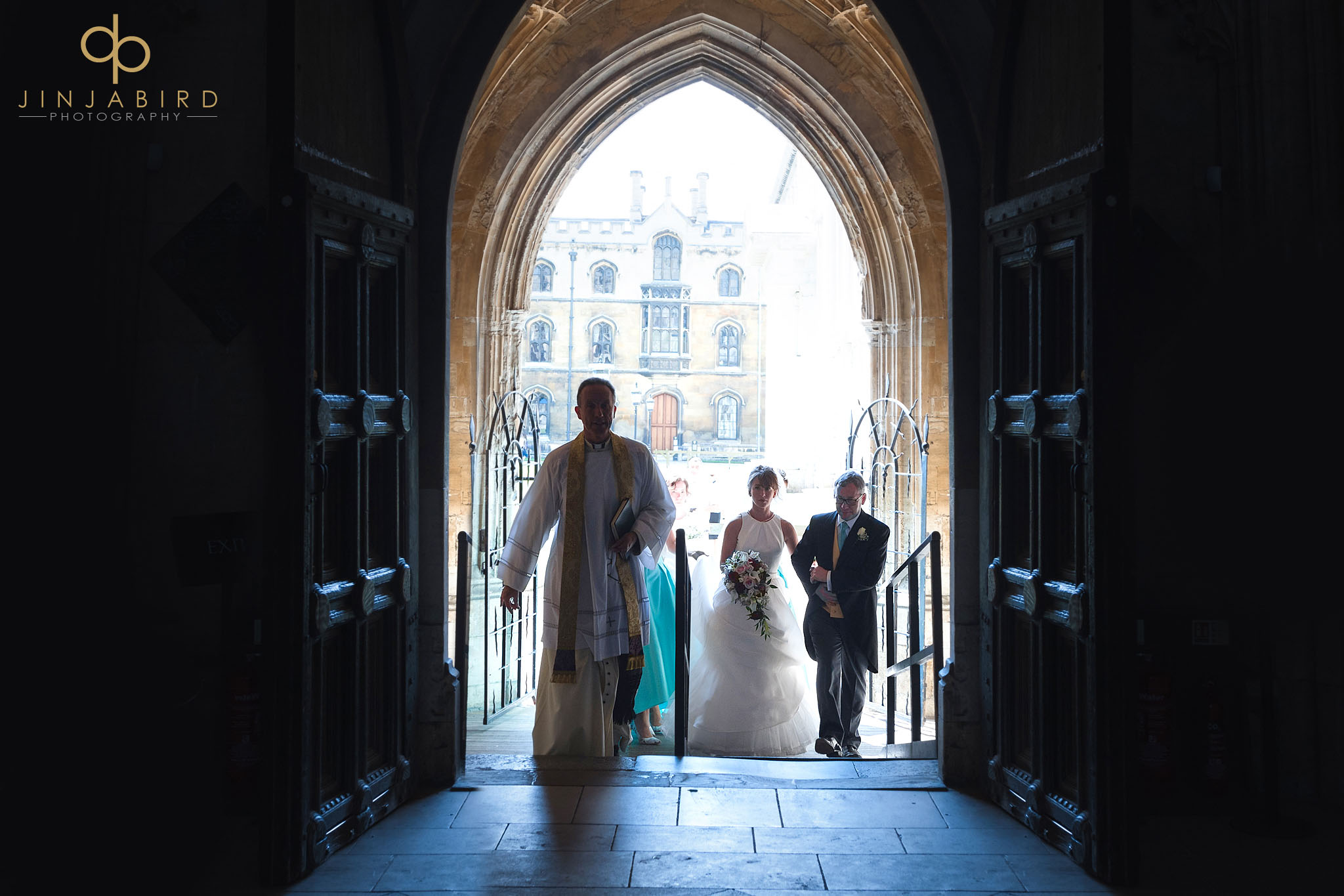 bride entering kings college chapel