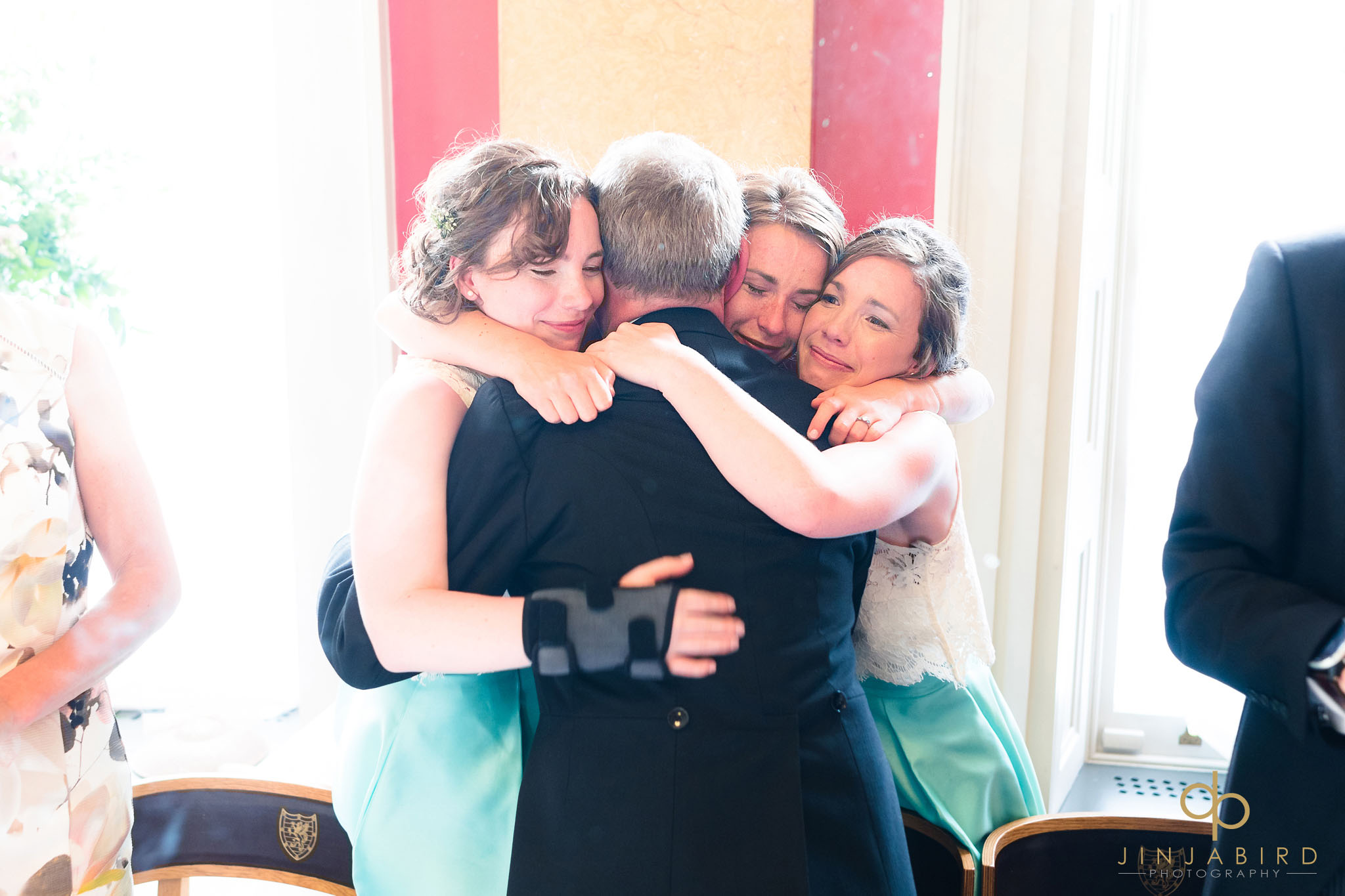 bride hugging dad downing college