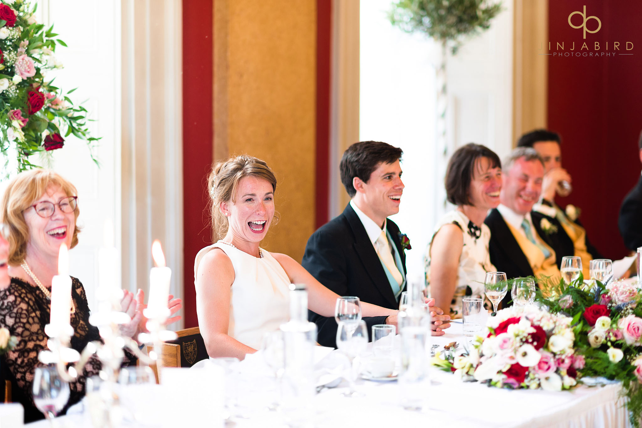 bride laughing downing college