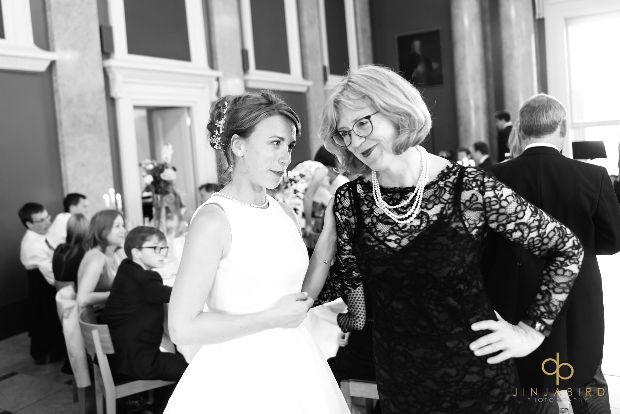 bride with mum downing college