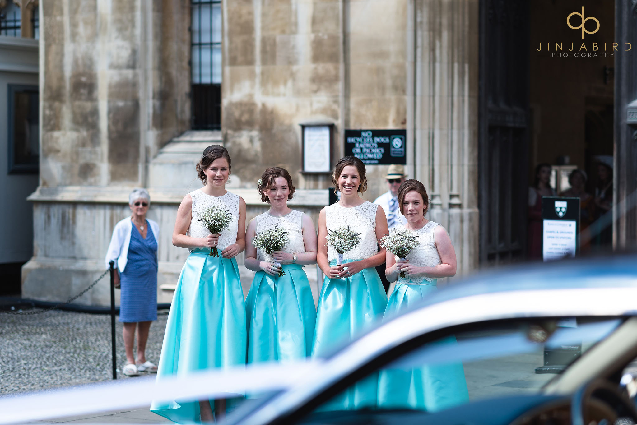 bridesmaids waiting kings college cambridge