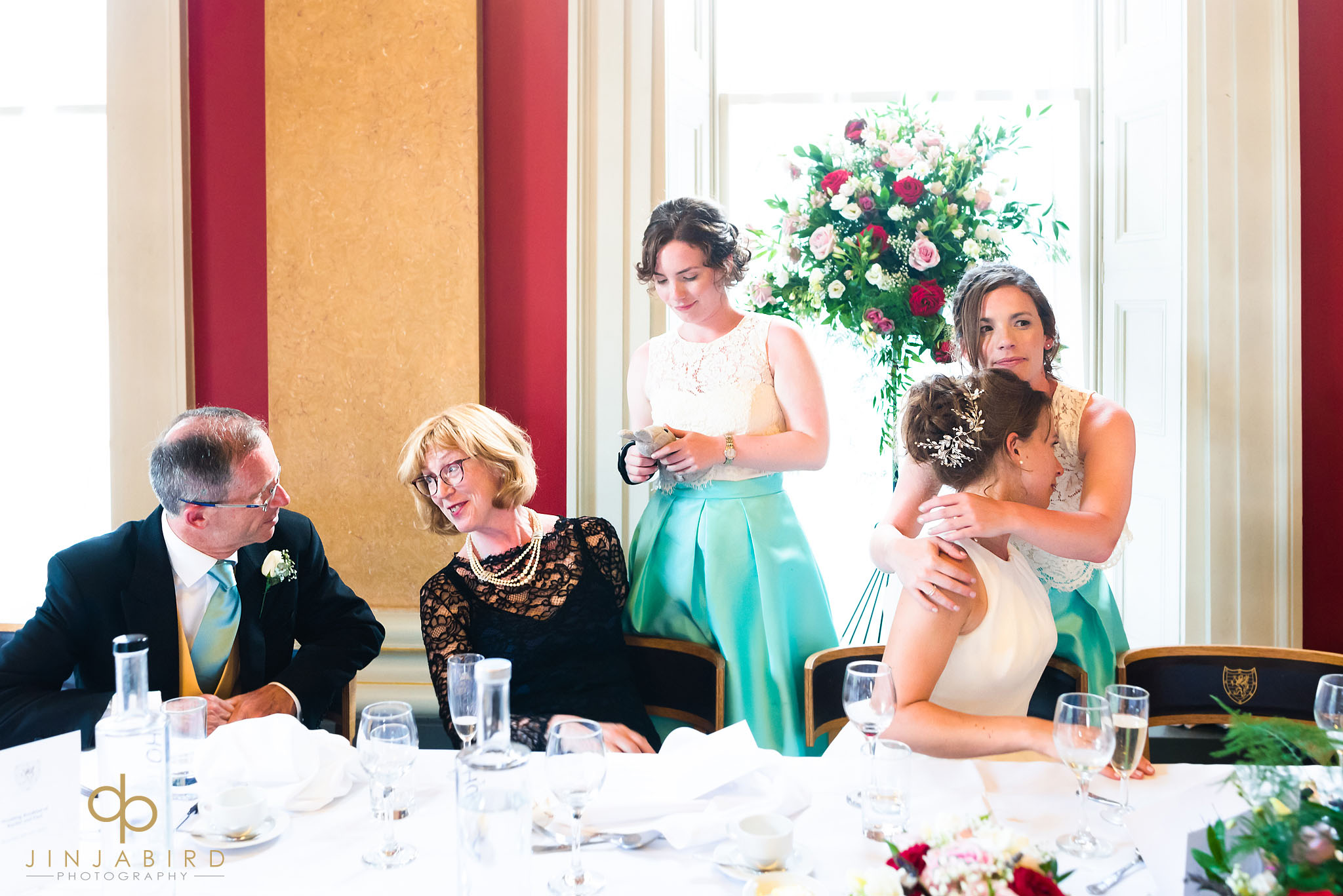 hugging bride downing college