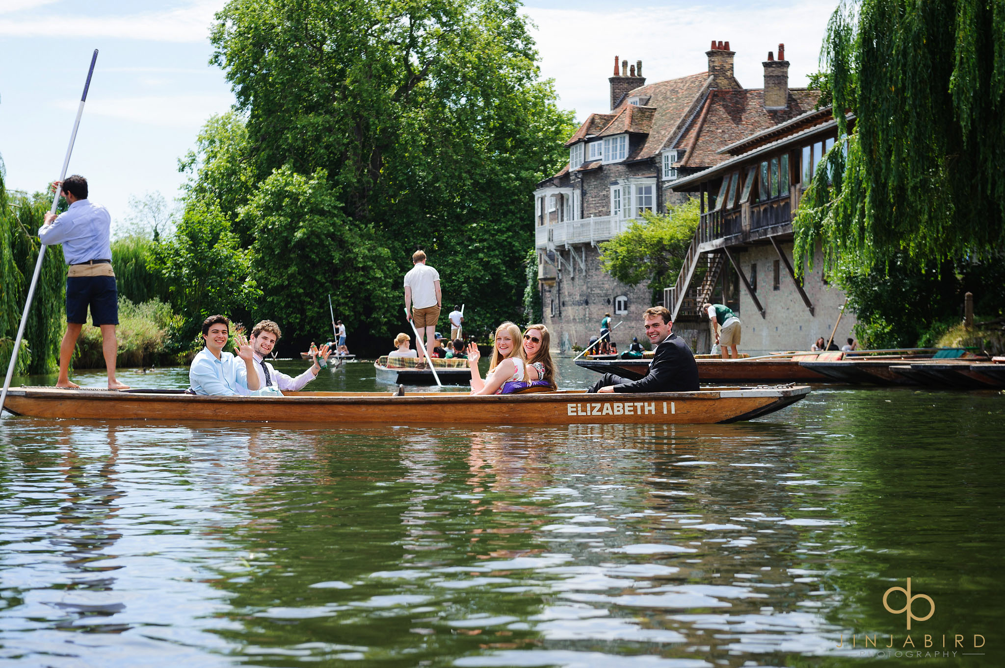 wedding guests on punt cambridge