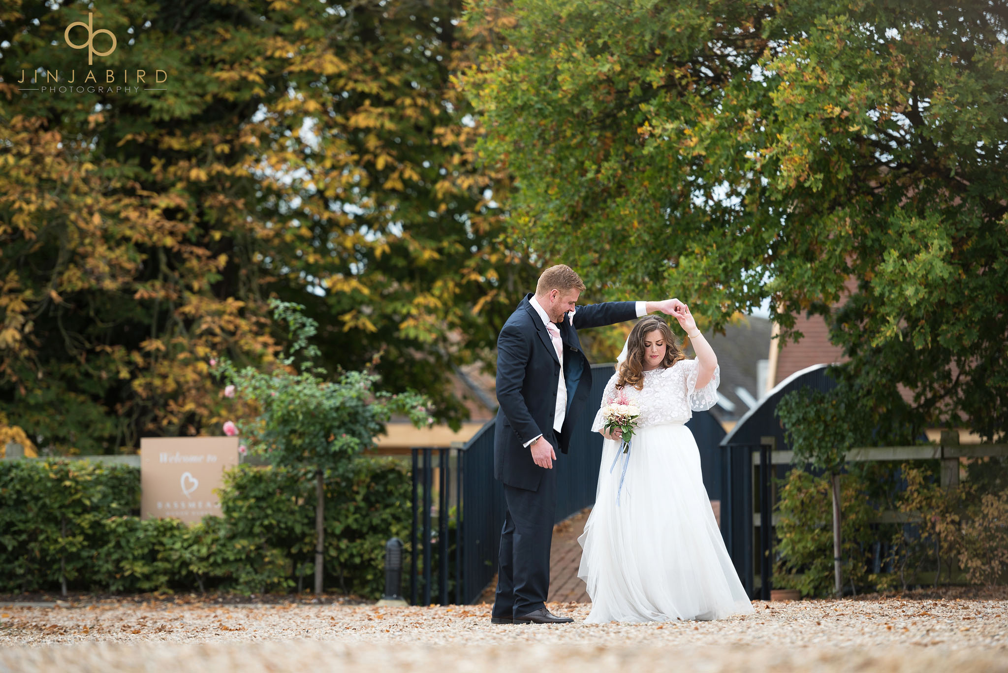 bride and groom married at bassmead manor