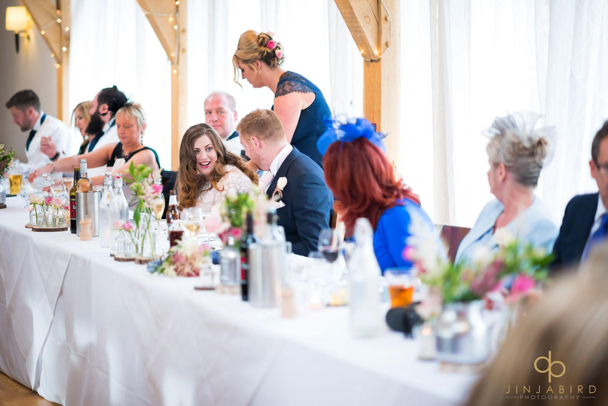 bride during wedding breakfast