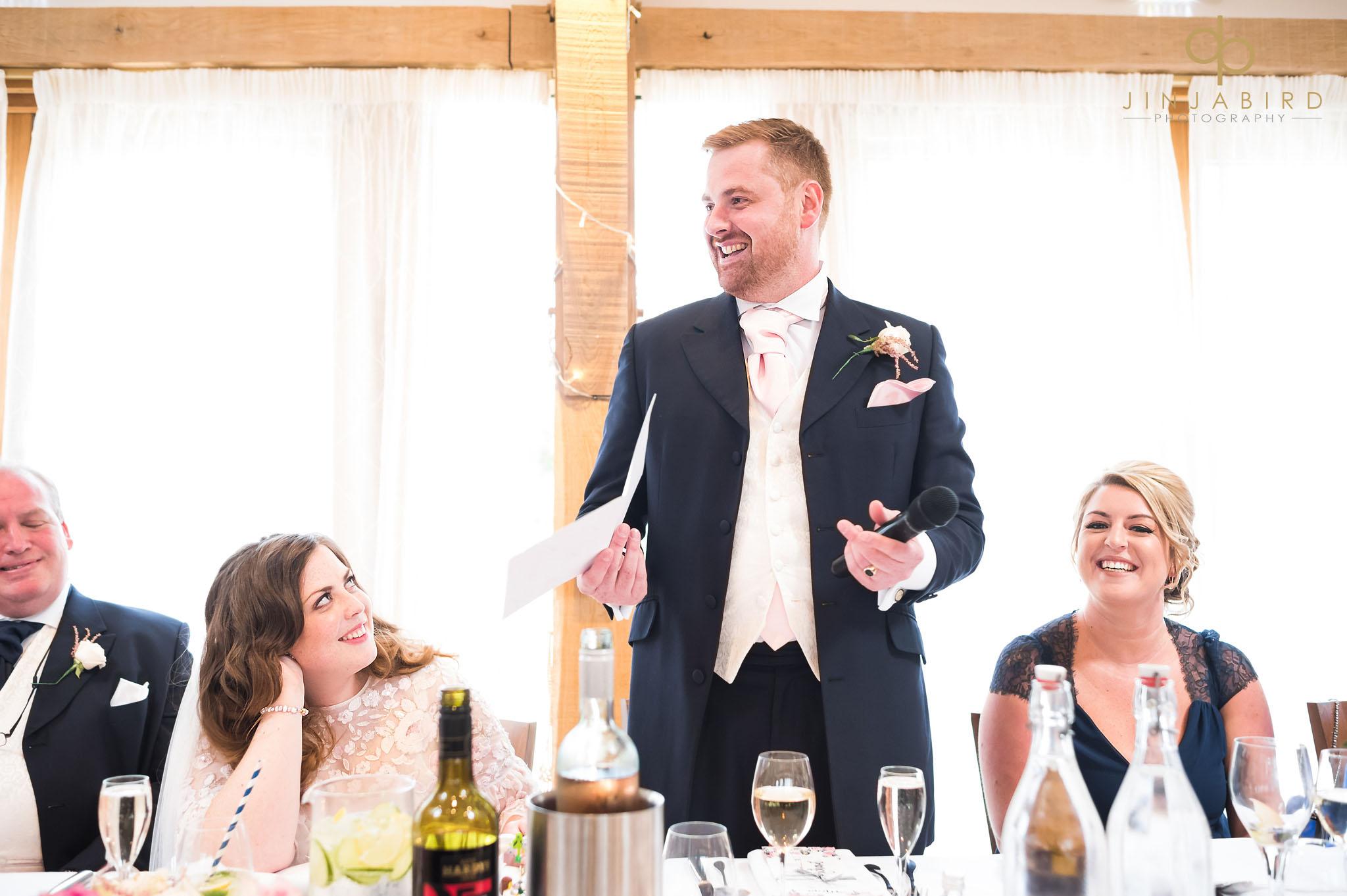 groom making speech bassmead manor