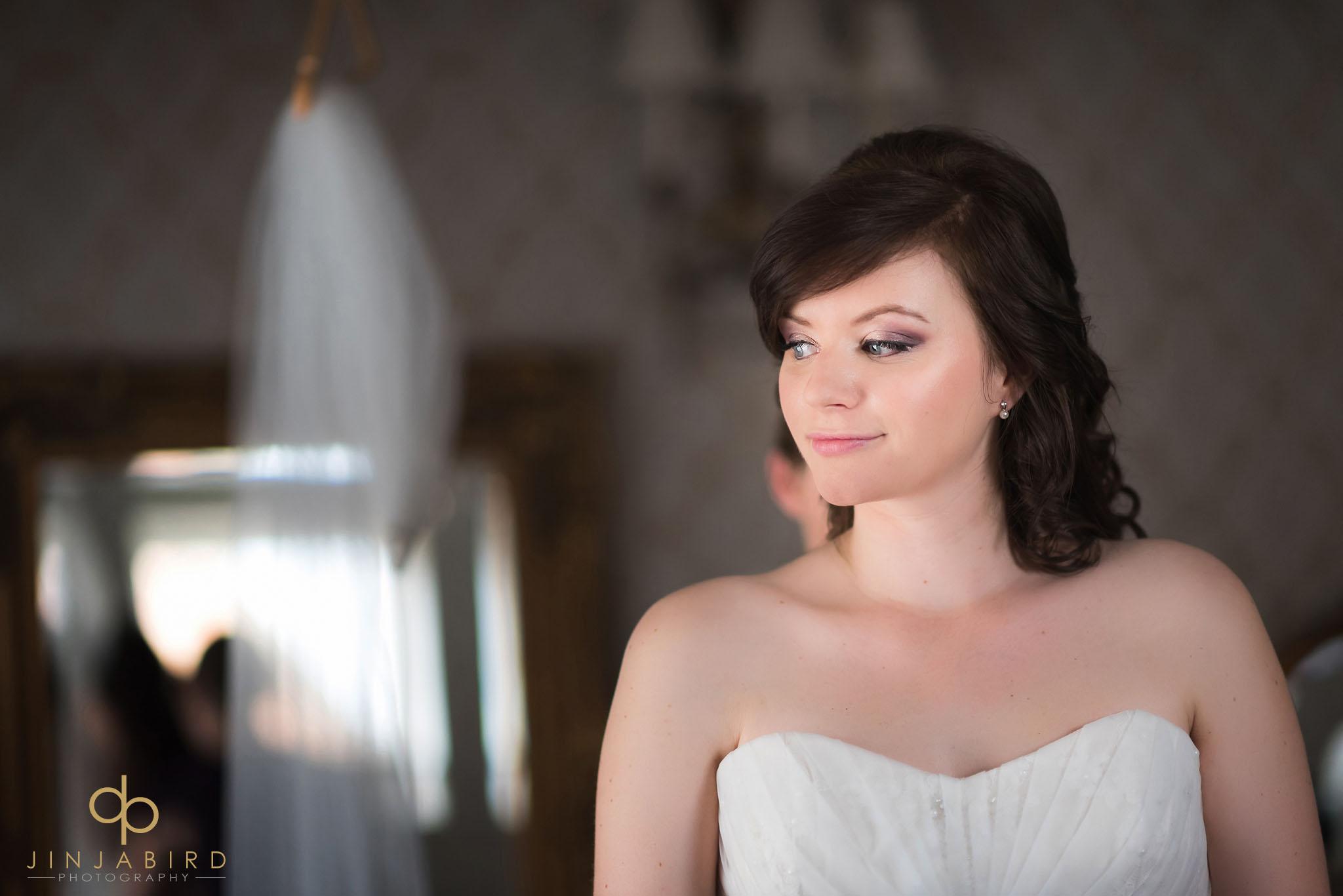 bride ready in dress in the boudoir bassmead manor