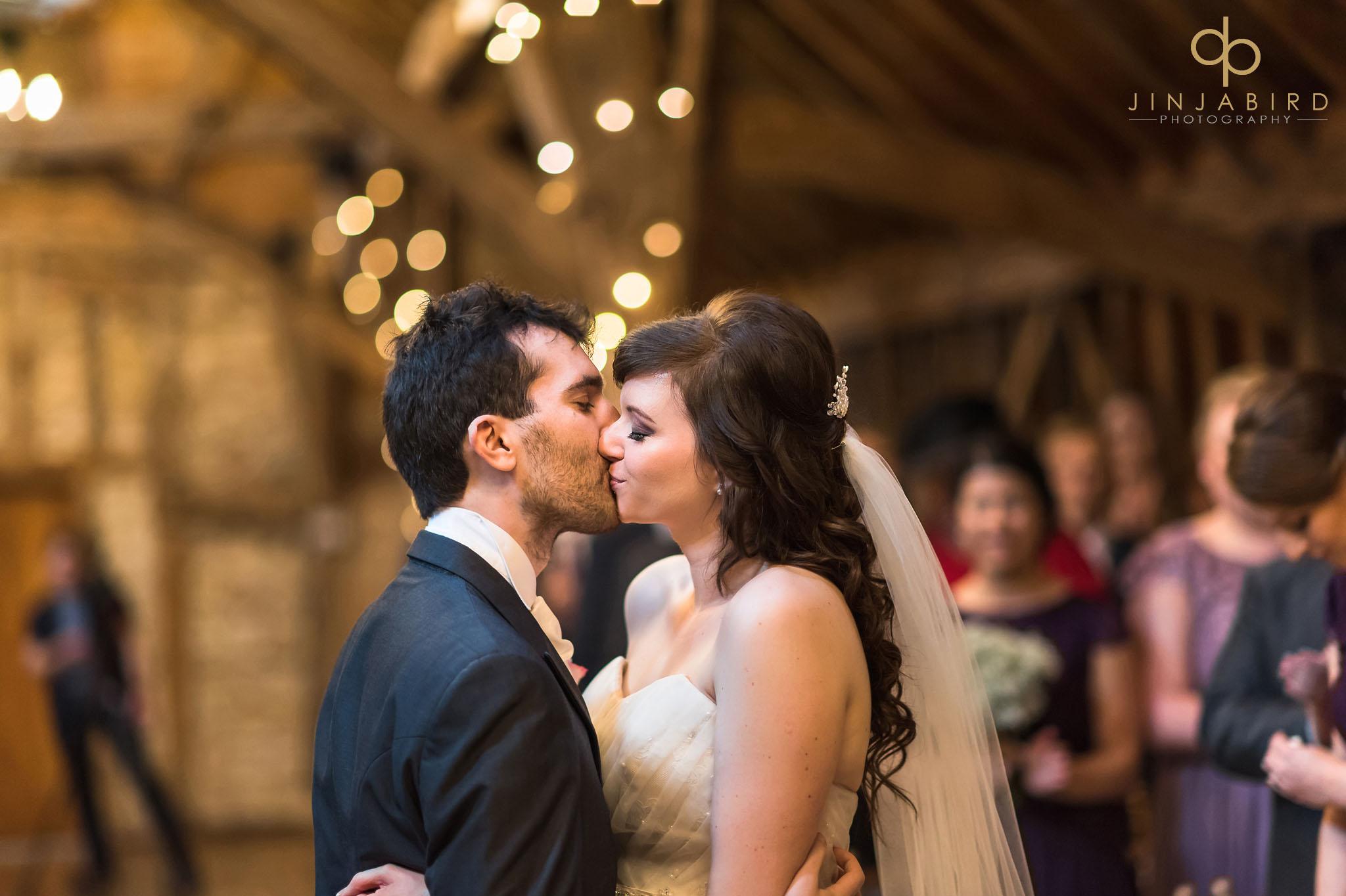 bride and groom getting married rickety barn bassmead manor