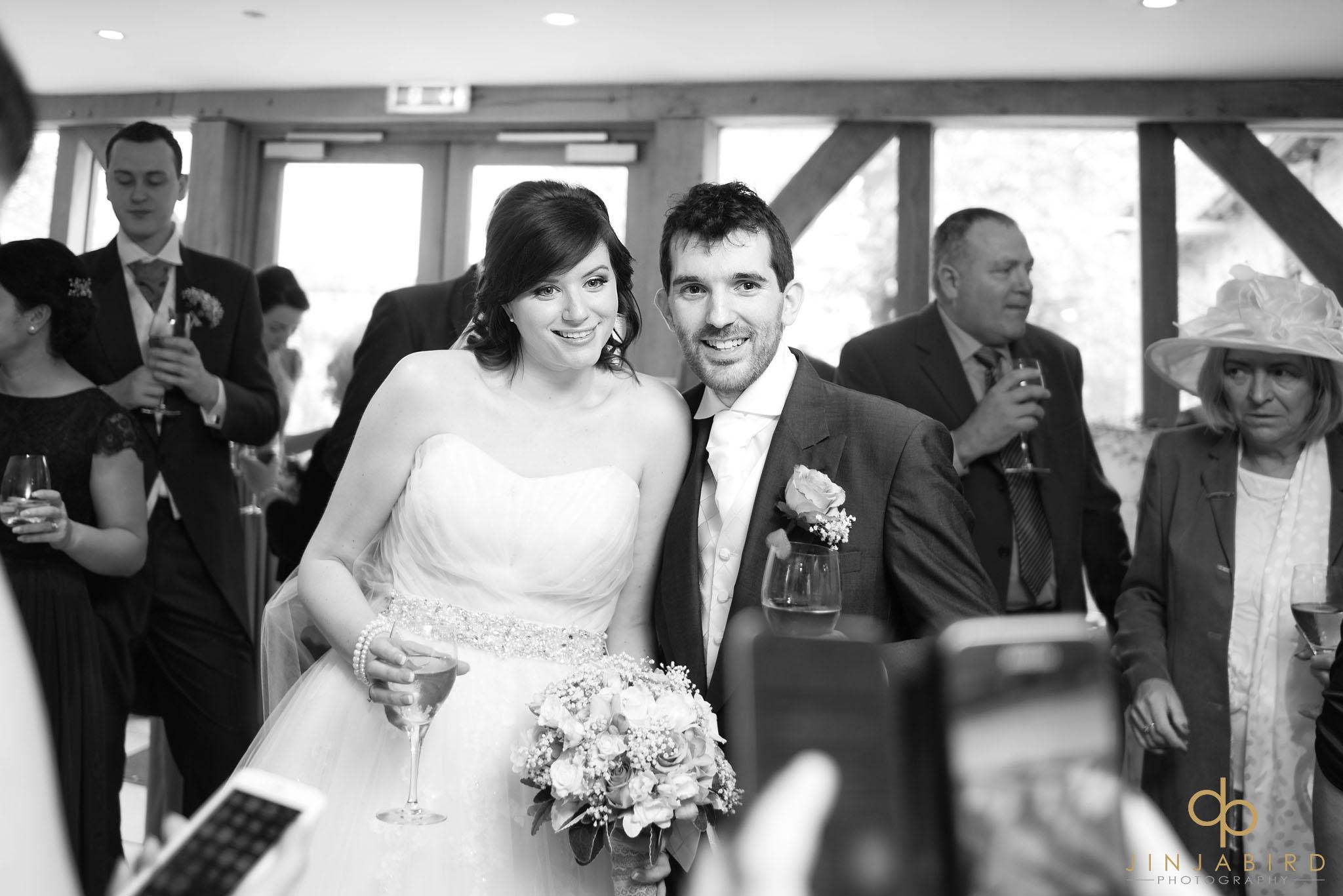 bride and groom just married bassmead manor