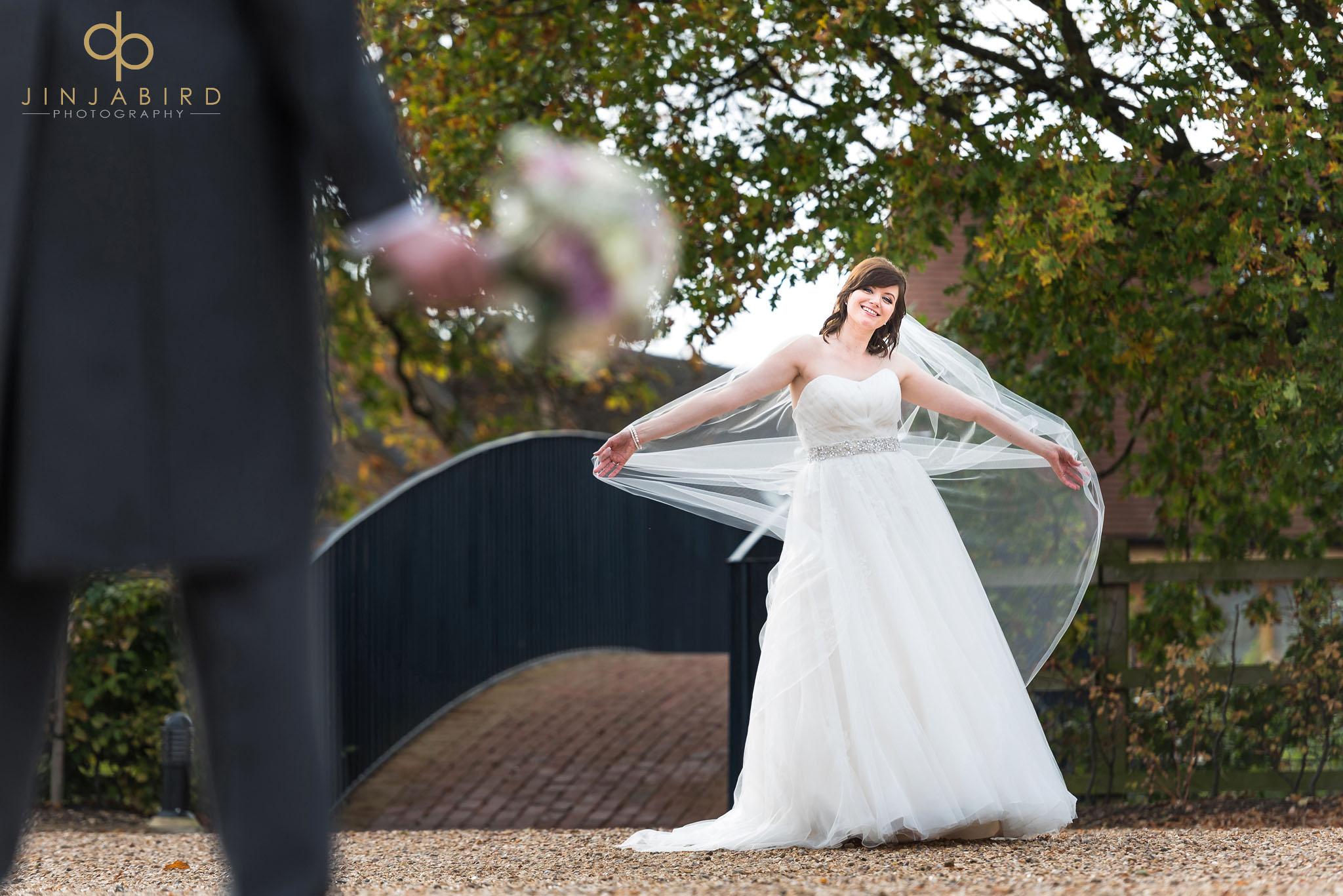beautiful bride outside at bassmead manor