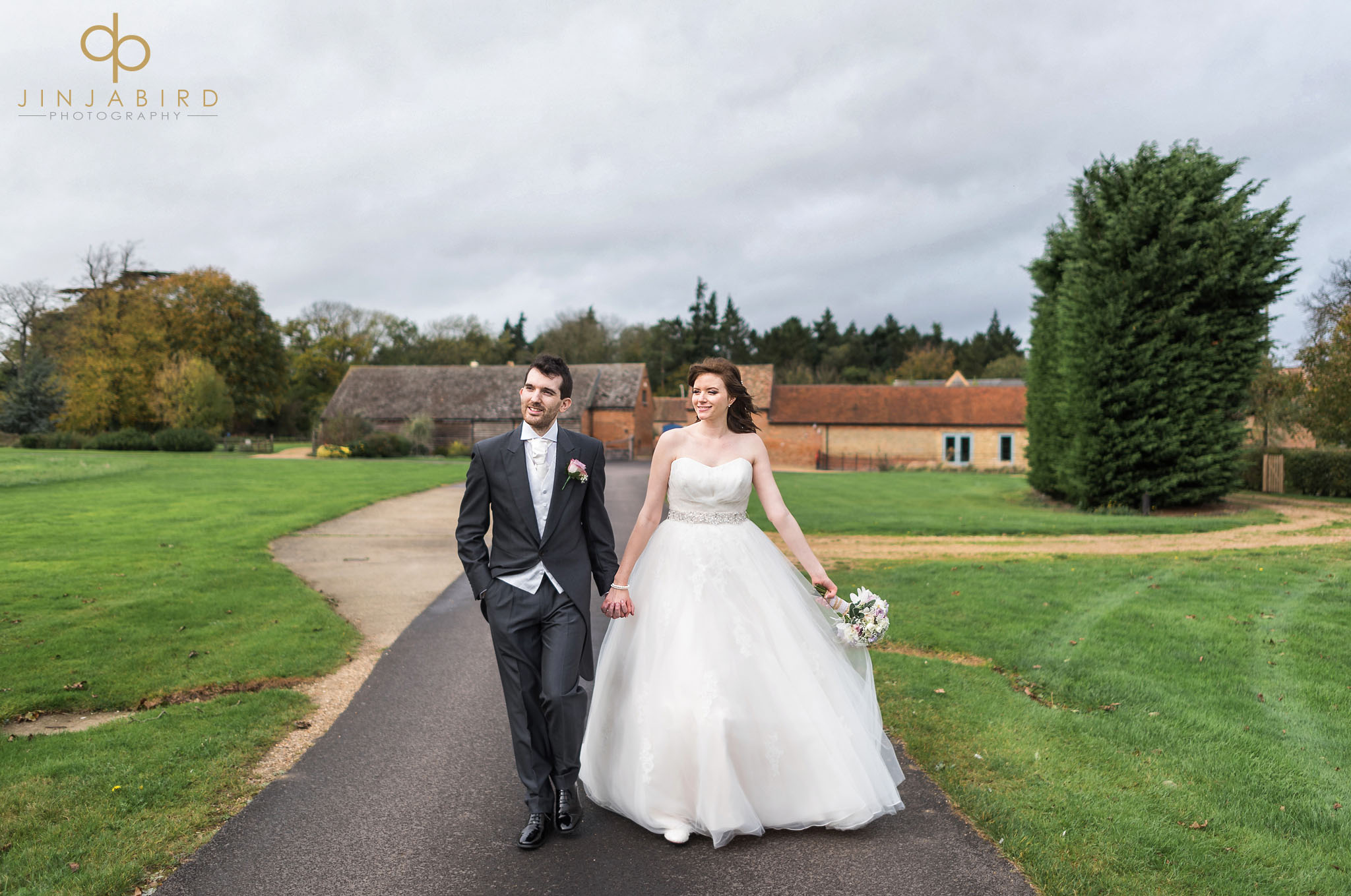 bride and groom on drive bassmead manor