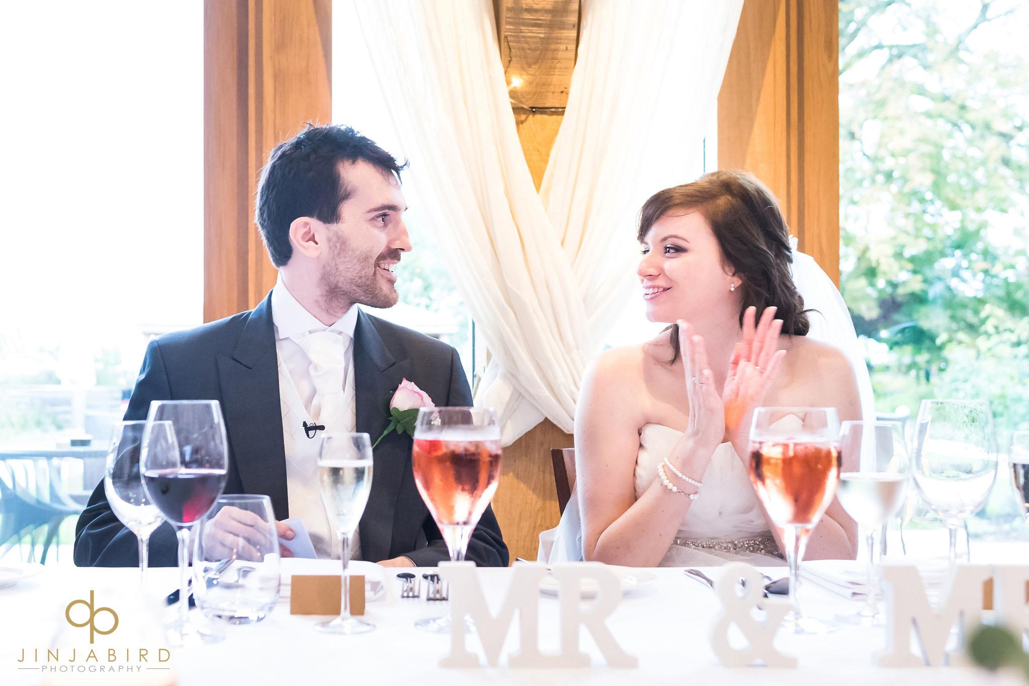 bride and groom at wedding breakfast bassmead manor
