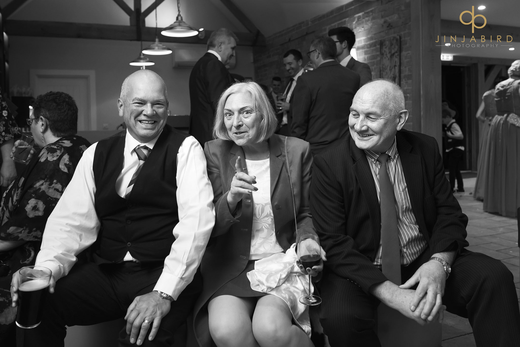 wedding guests in bar bassmead manor