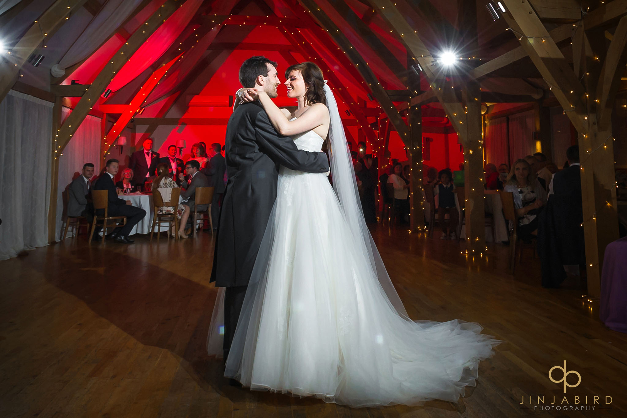 bride and groom have first dance bassmead manor