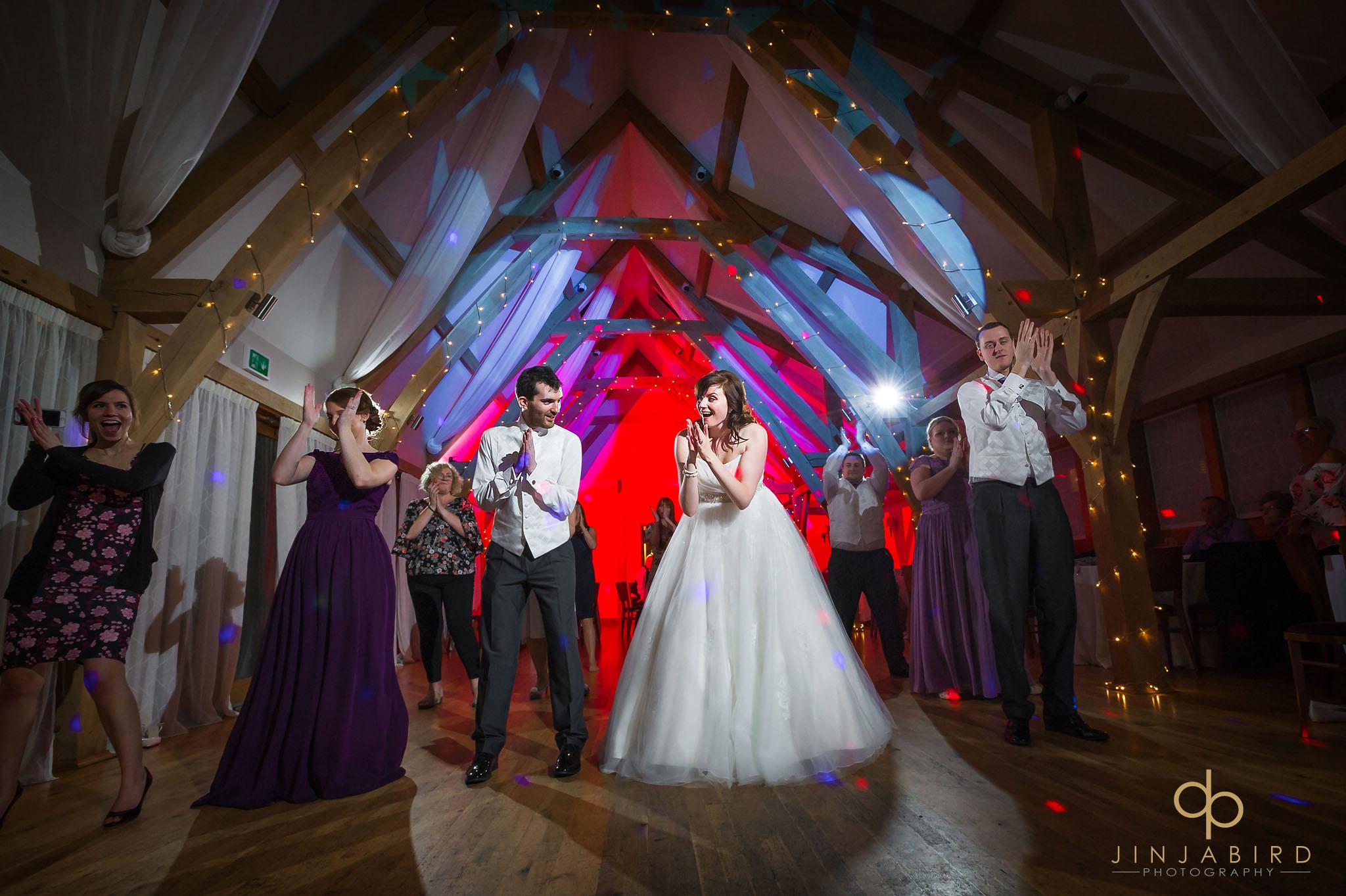 bride dancing at wedding disco bassmead manor