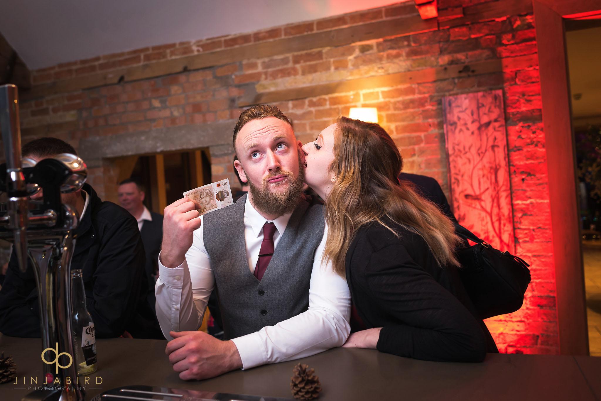 wedding guests at bar bassmead manor