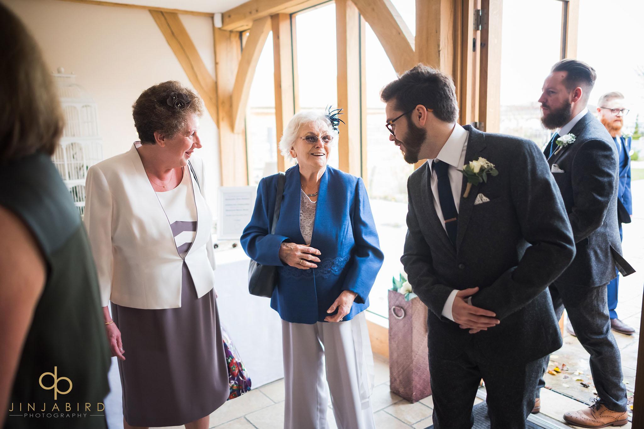 groom greeting grandmother